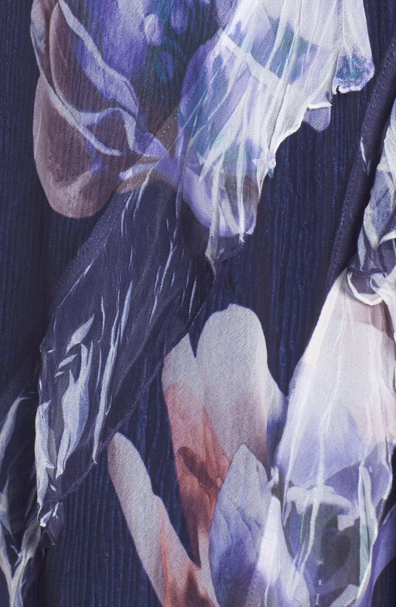 Ruffle Maxi Dress with Wrap,                             Alternate thumbnail 5, color,                             Indigo Bloom