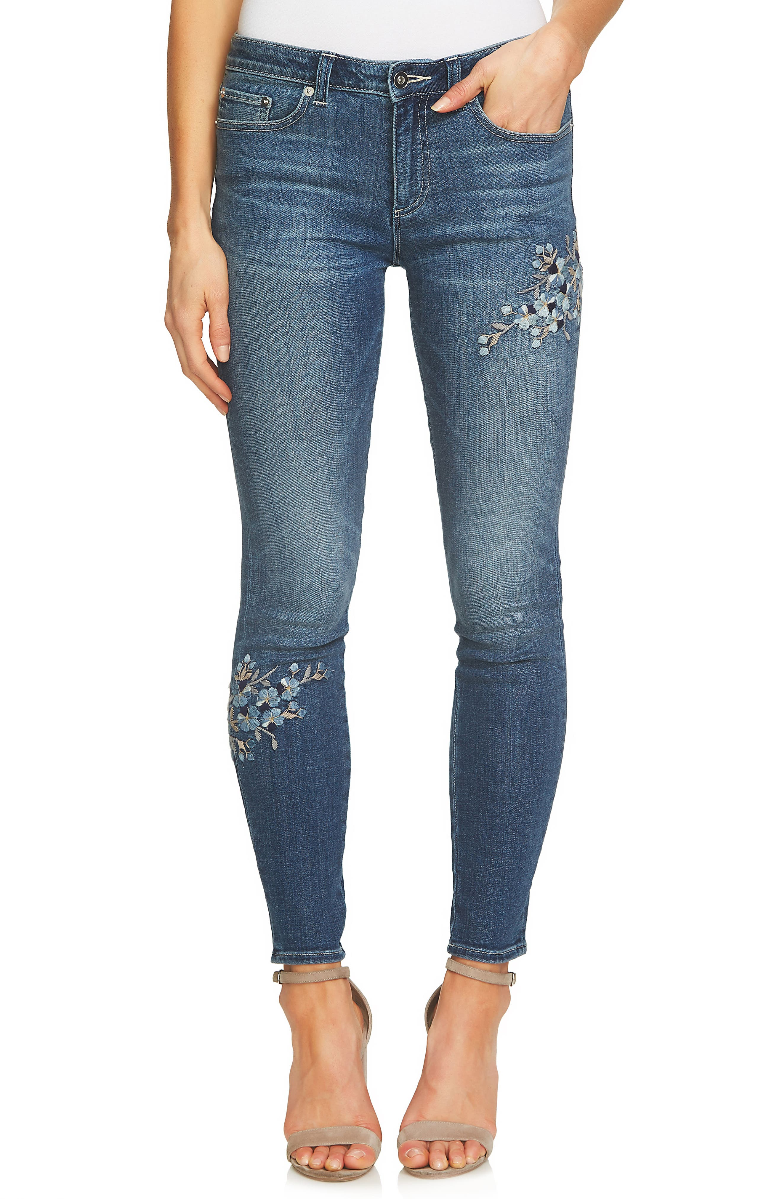 Floral Embroidered Skinny Jeans,                         Main,                         color, True Blue