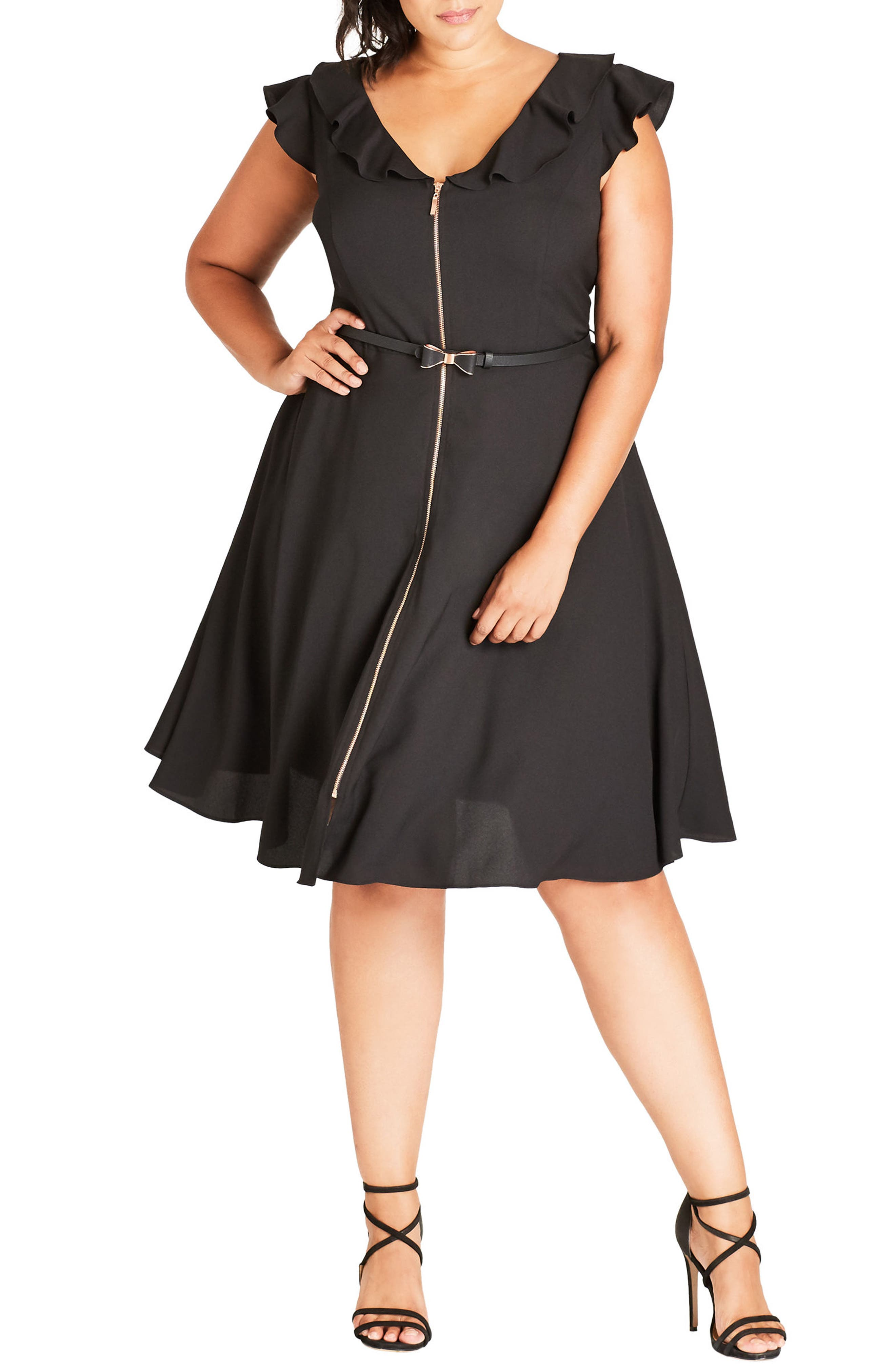 Main Image - City Chic Pretty Bow Fit & Flare Dress (Plus Size)