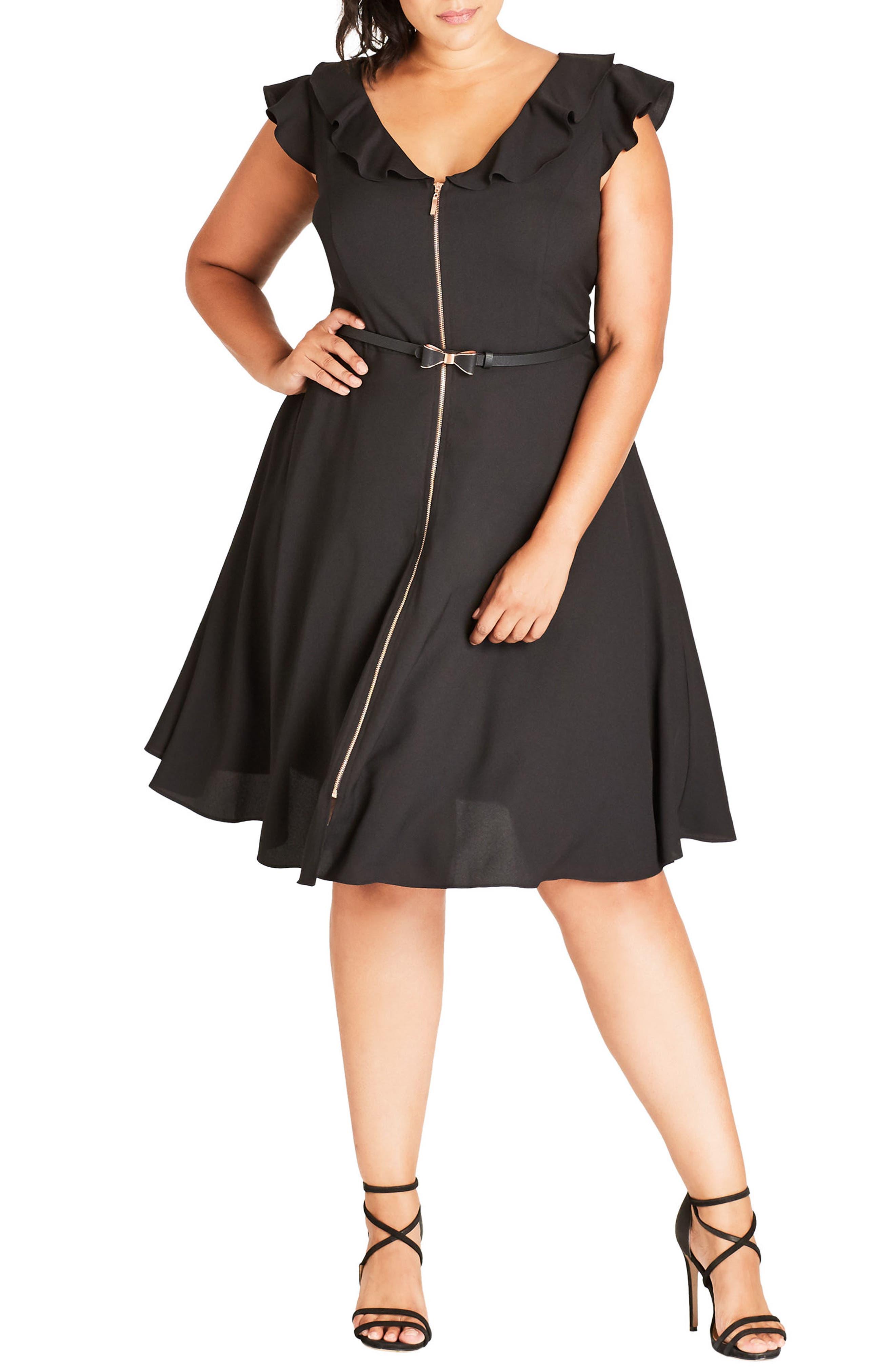 Pretty Bow Fit & Flare Dress,                         Main,                         color, Black