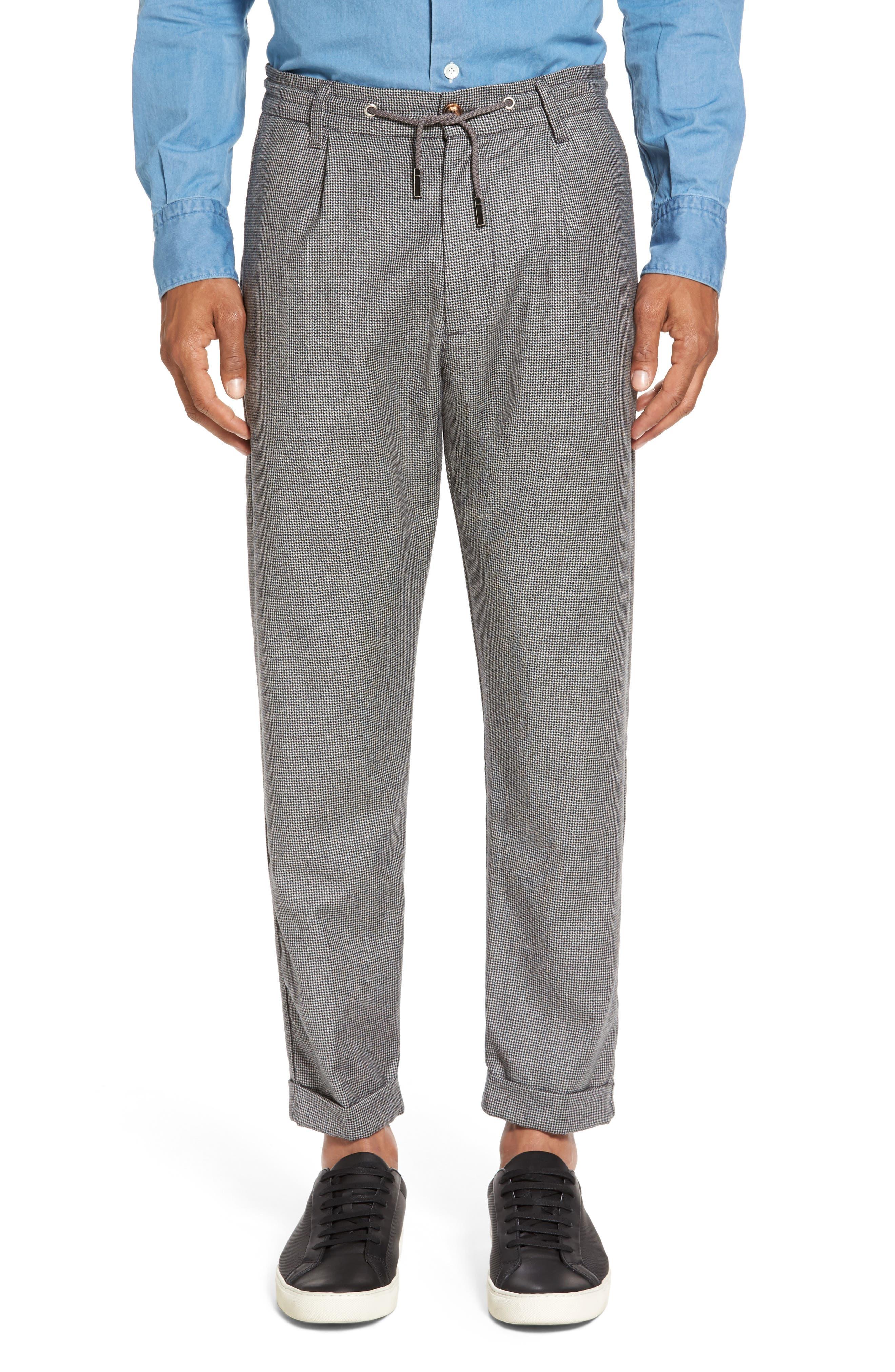 Eleventy Houndstooth Wool Drawstring Jogger Pants