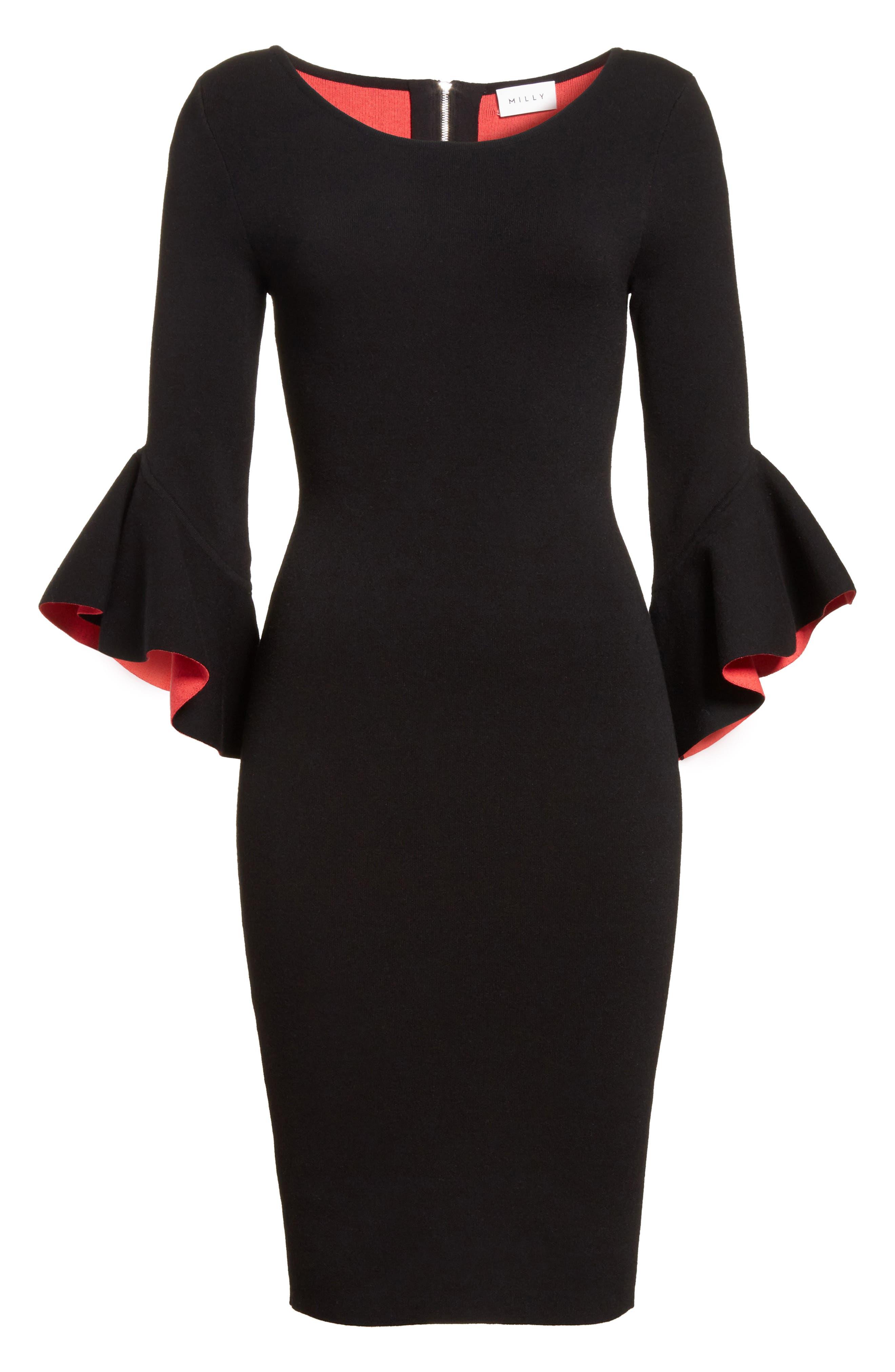 Contrast Lined Bell Sleeve Sheath Dress,                             Alternate thumbnail 6, color,                             Black/ Cherry