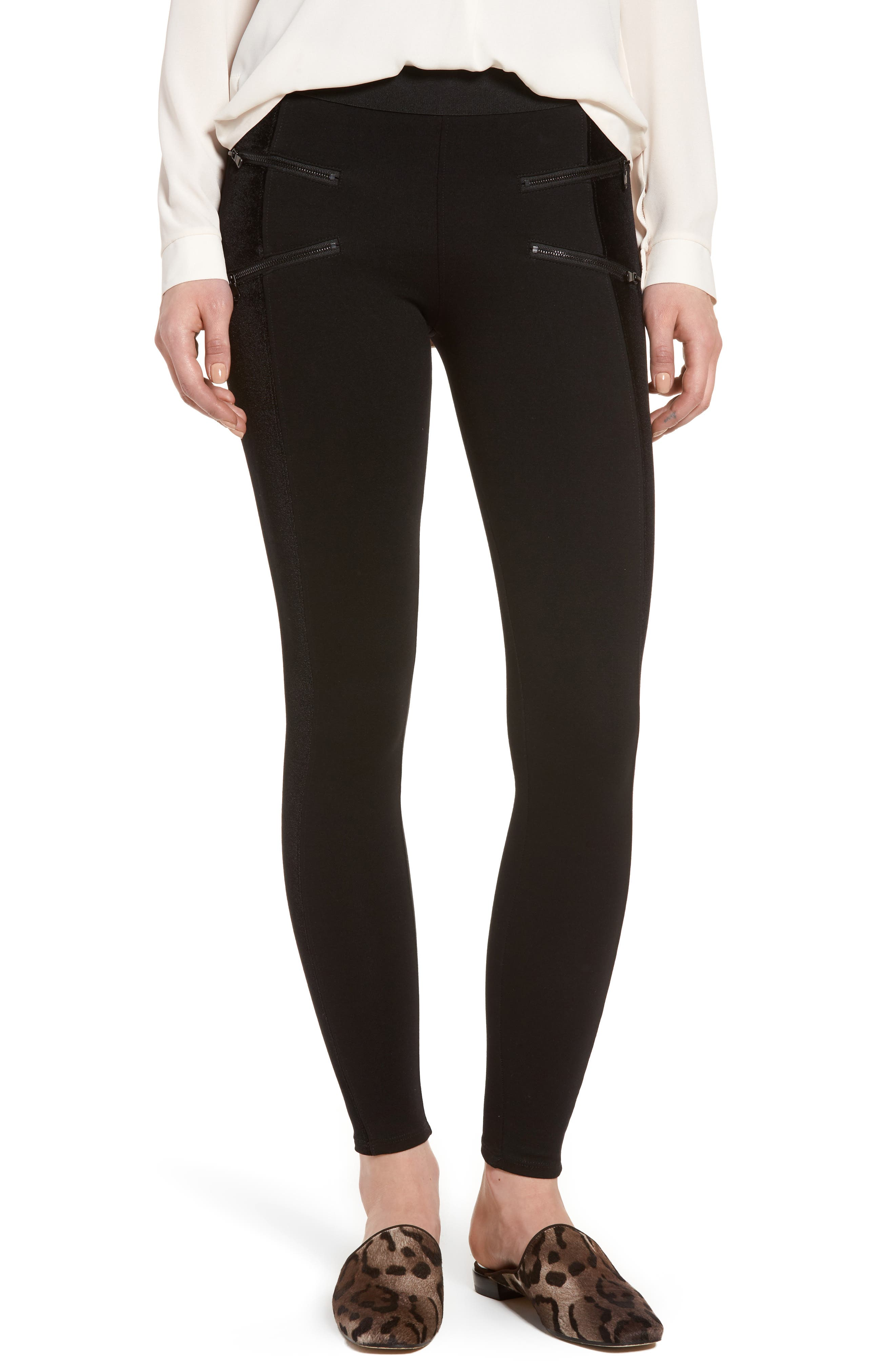 Starburst Zip Combo Leggings,                             Main thumbnail 1, color,                             Black