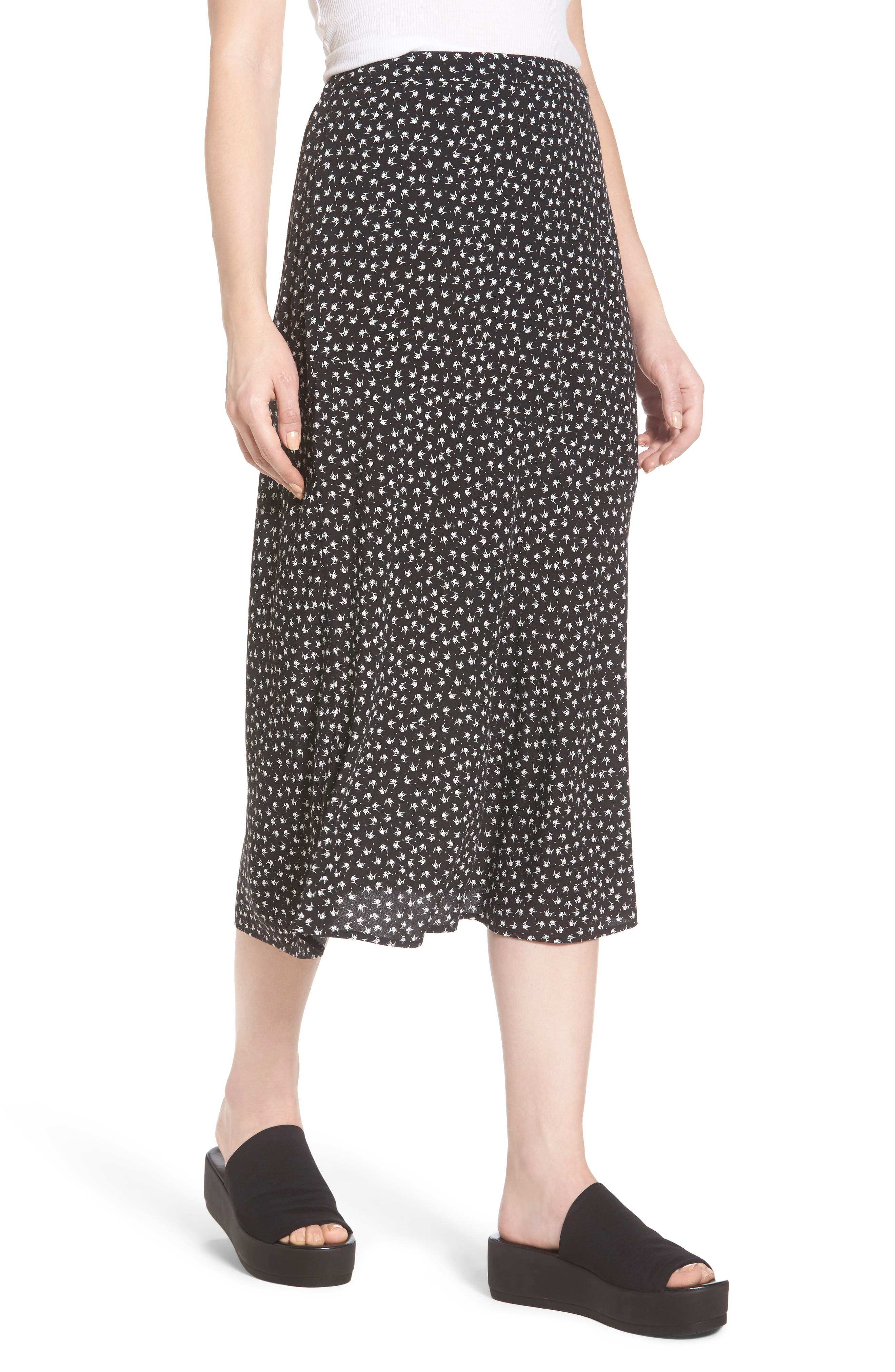 Print Bias Cut Skirt,                             Alternate thumbnail 4, color,                             Black Tsd Stem