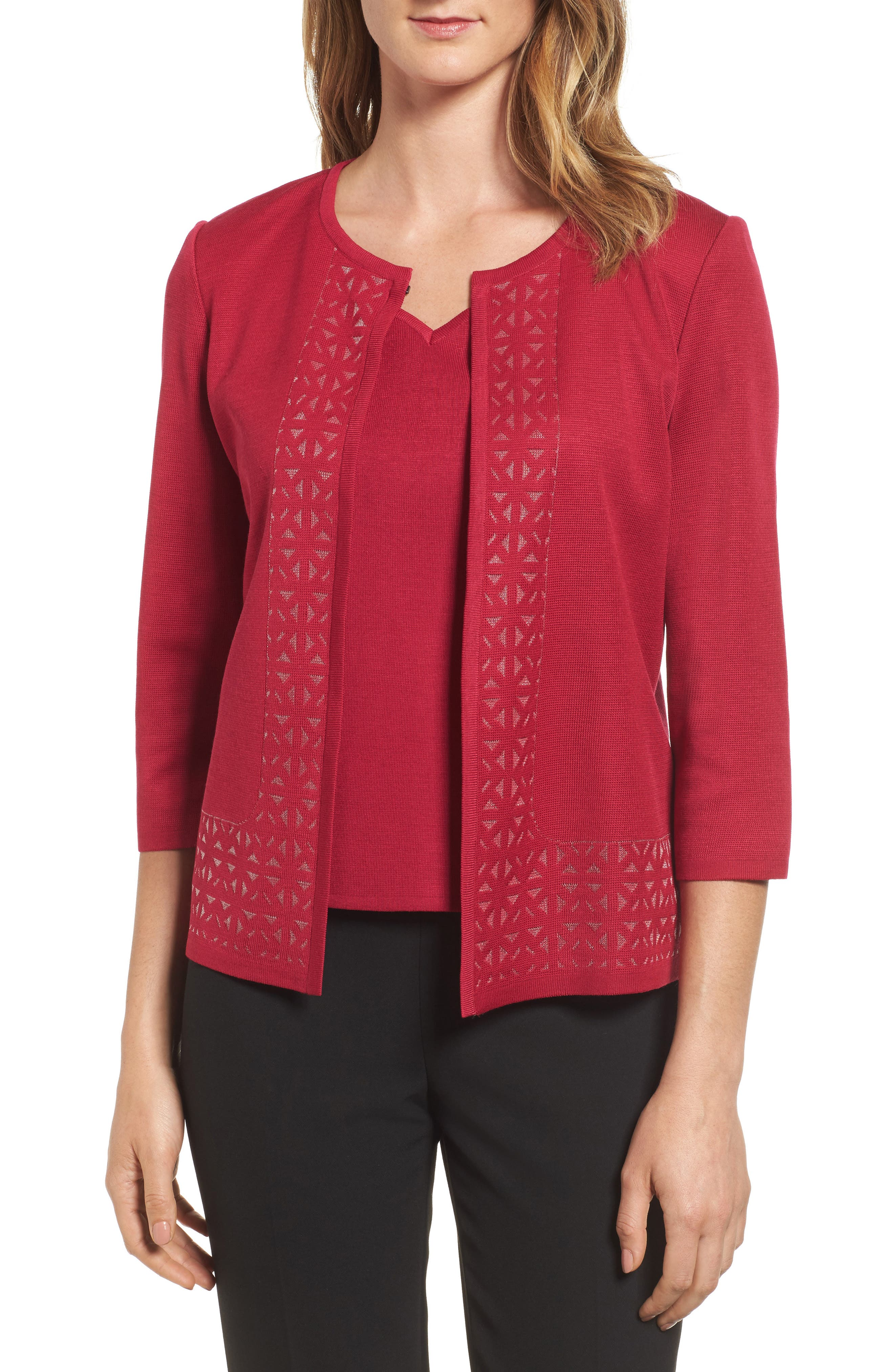 Geometric Border Jacket,                         Main,                         color, Charged Pink