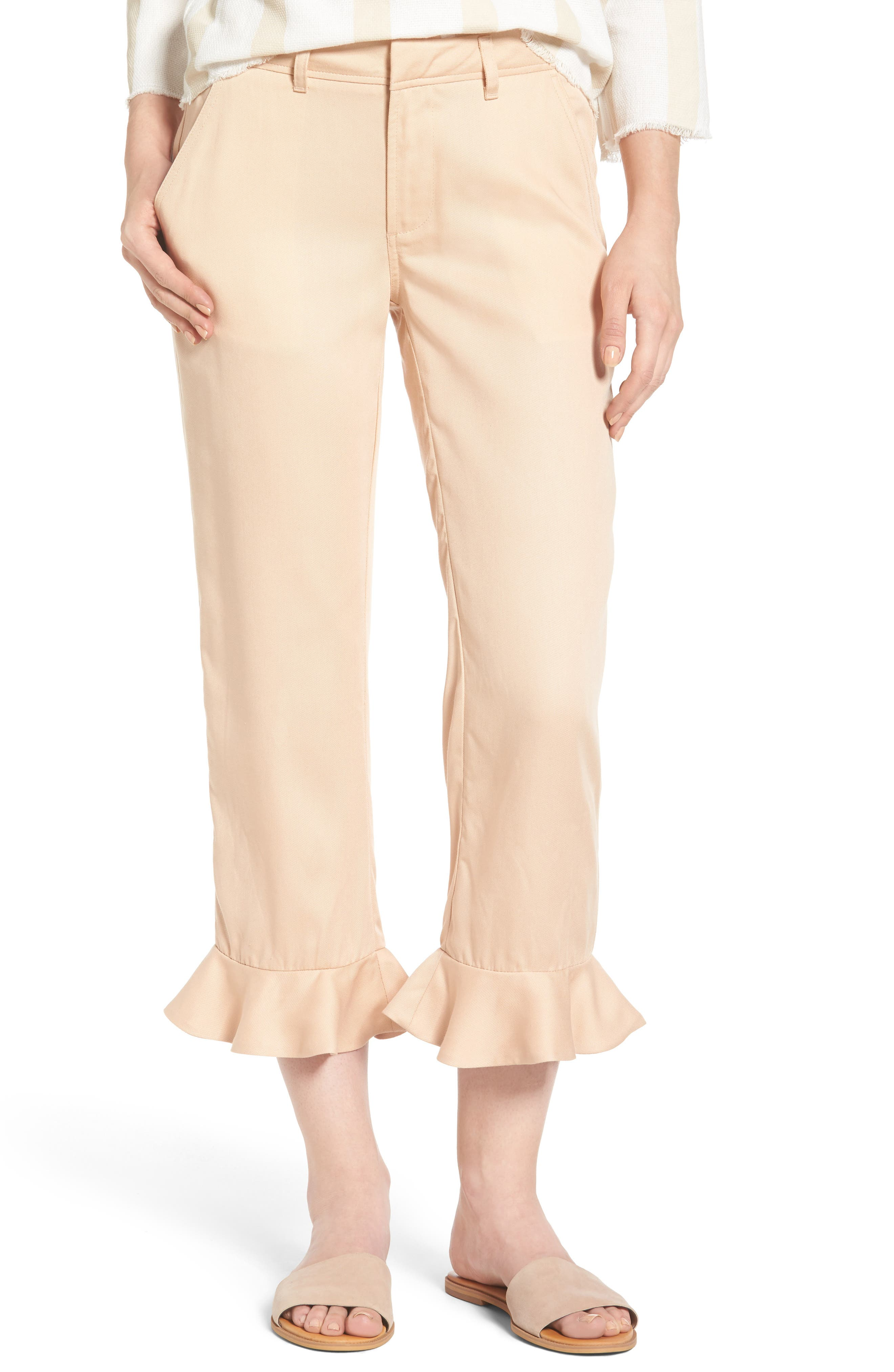Ruffle Ankle Trousers,                         Main,                         color, Pink
