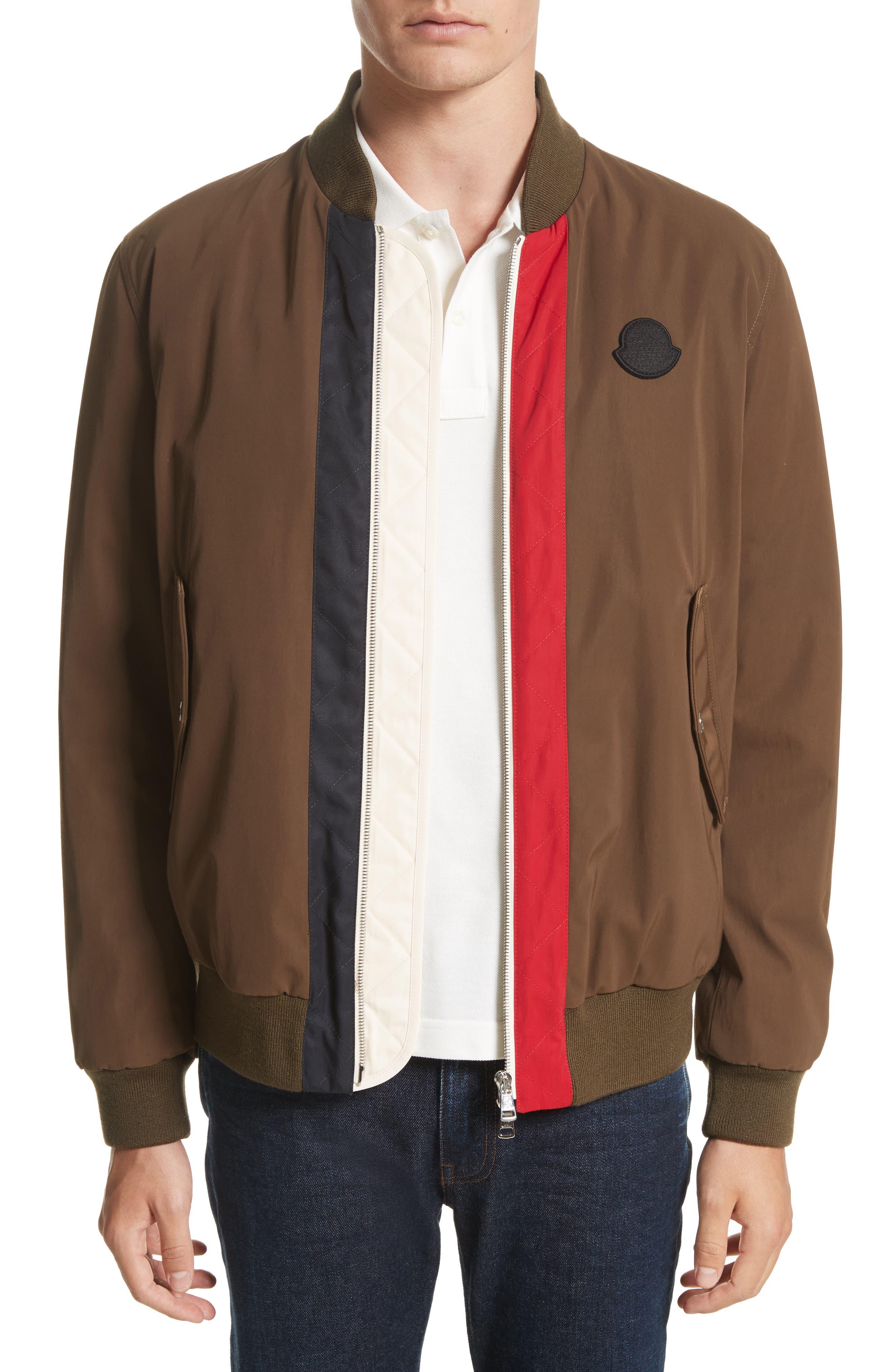 Alternate Image 1 Selected - Moncler Tacna Stripe Bomber Jacket