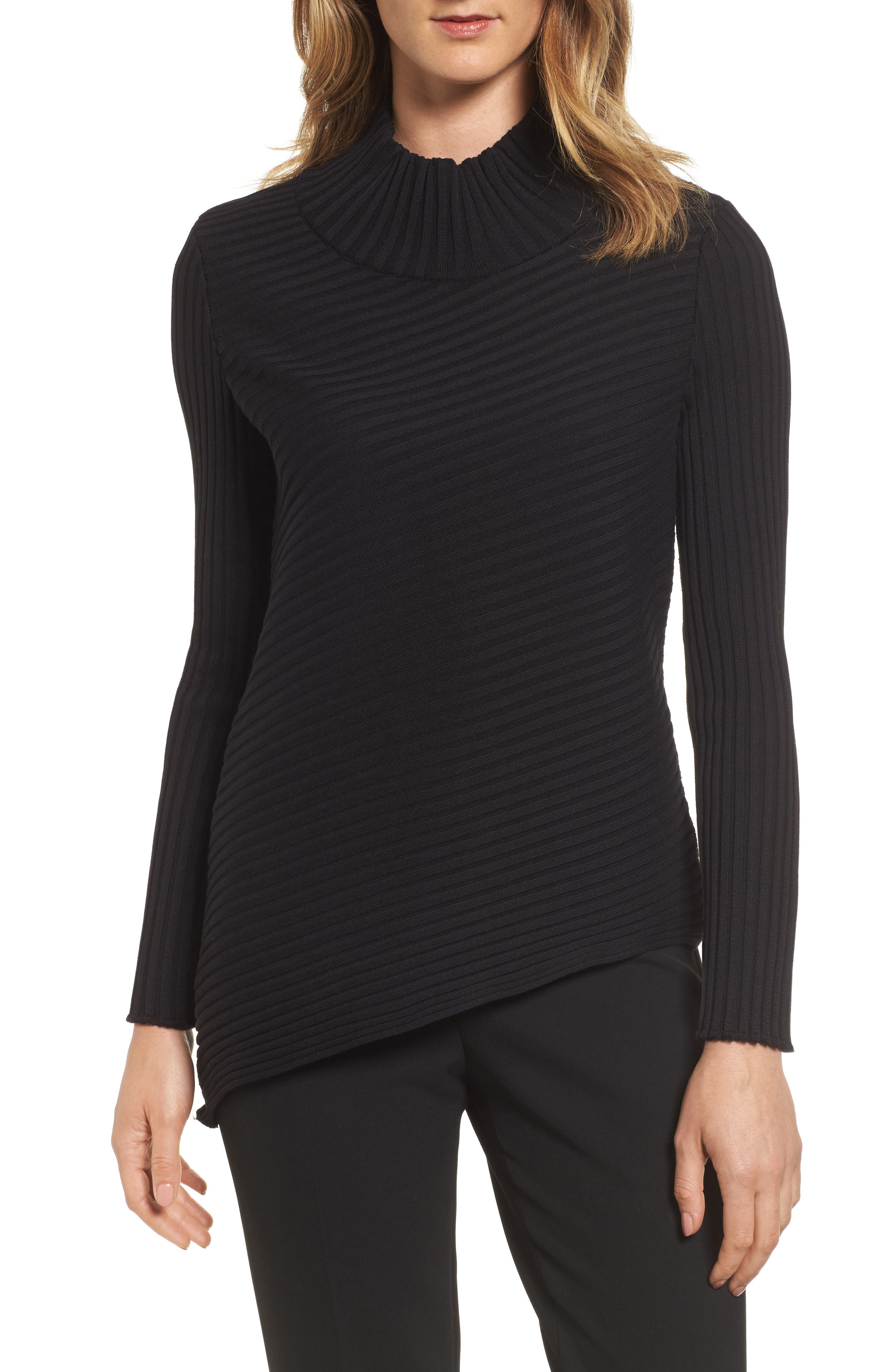 Ribbed Asymmetrical Sweater,                         Main,                         color, Black