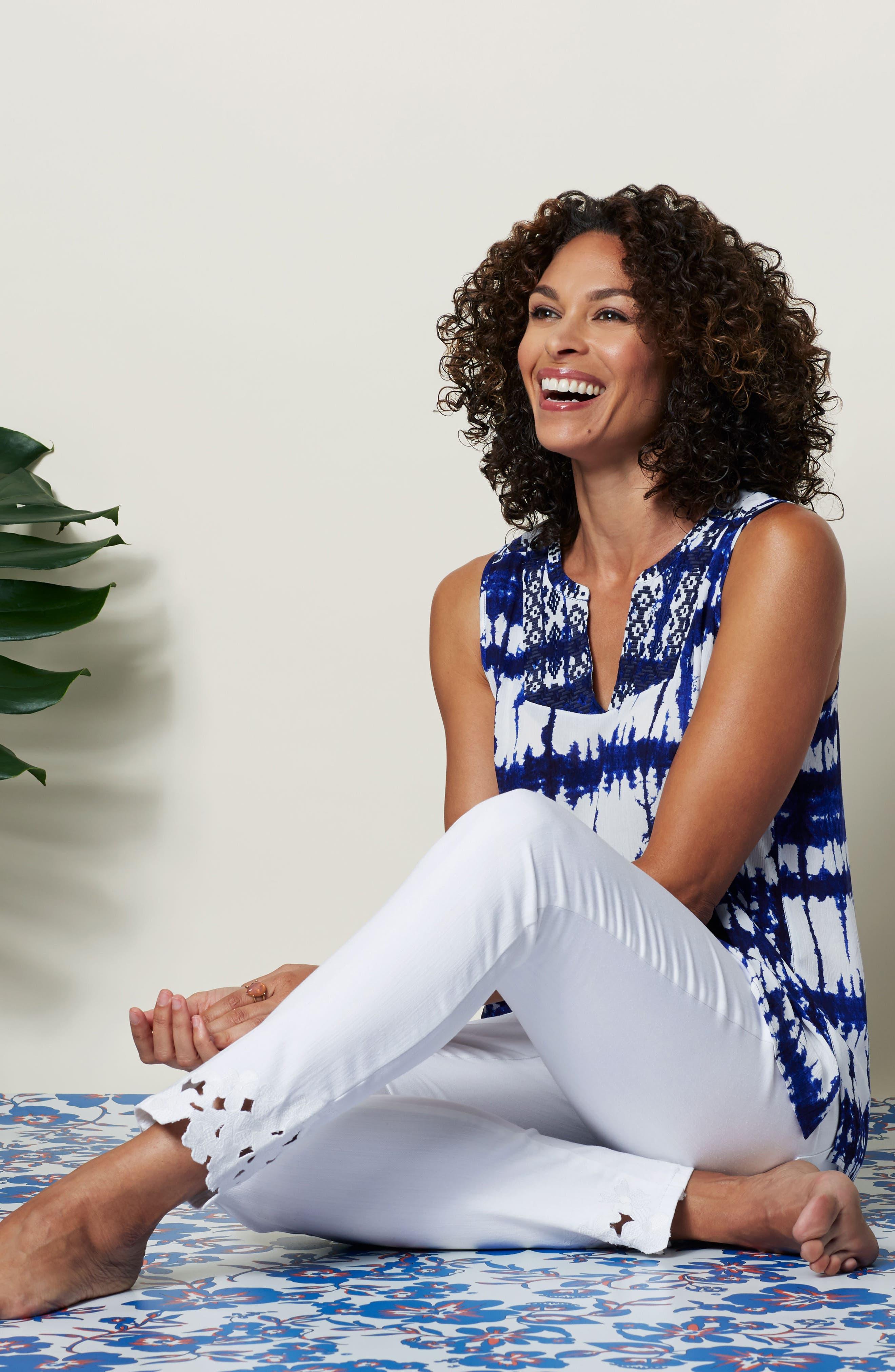 Alternate Image 2  - NYDJ Alina Eyelet Hem Stretch Skinny Jeans (Optic White) (Regular & Petite)