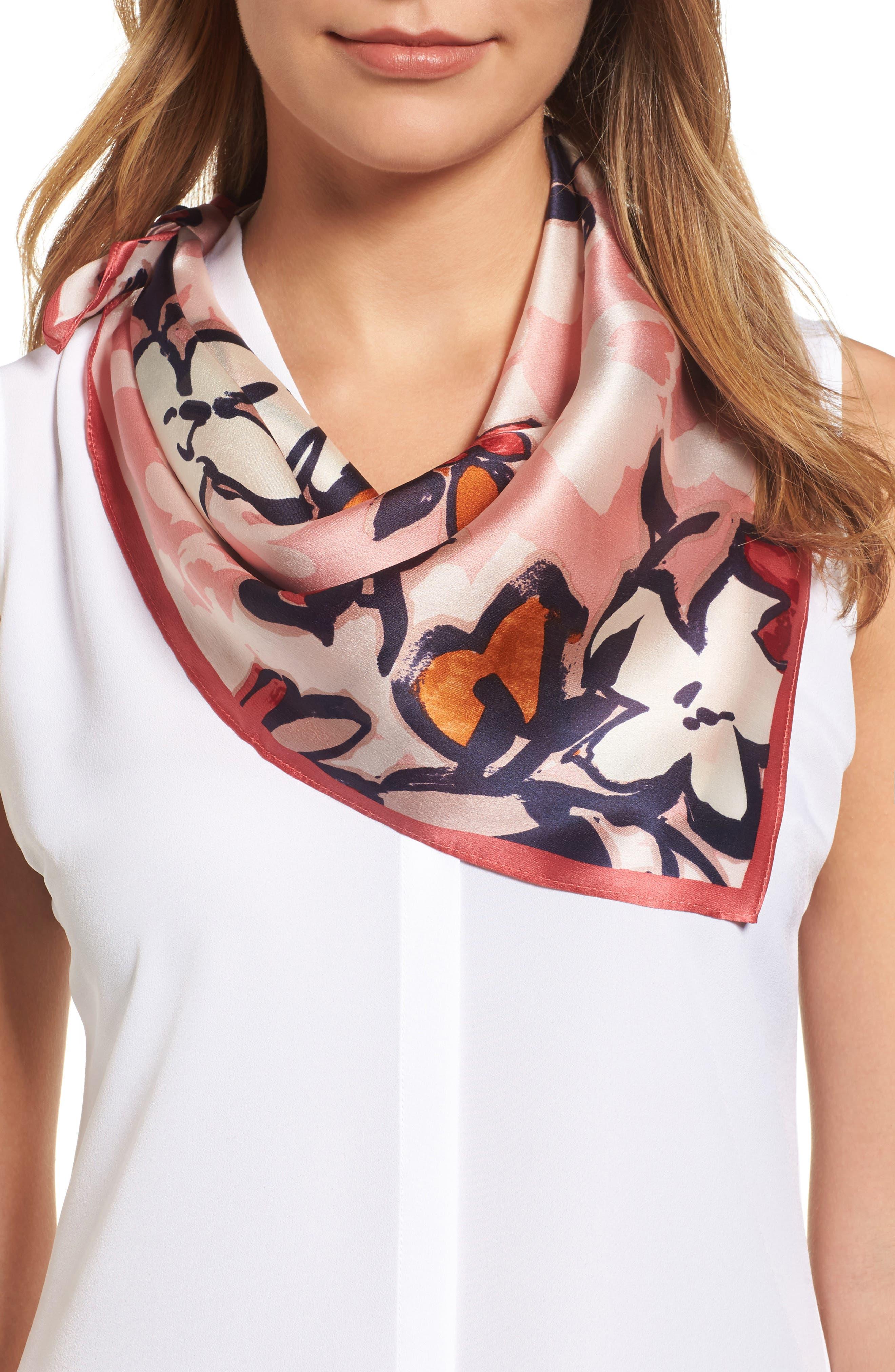 Halogen® Bloom Floral Silk Square Scarf