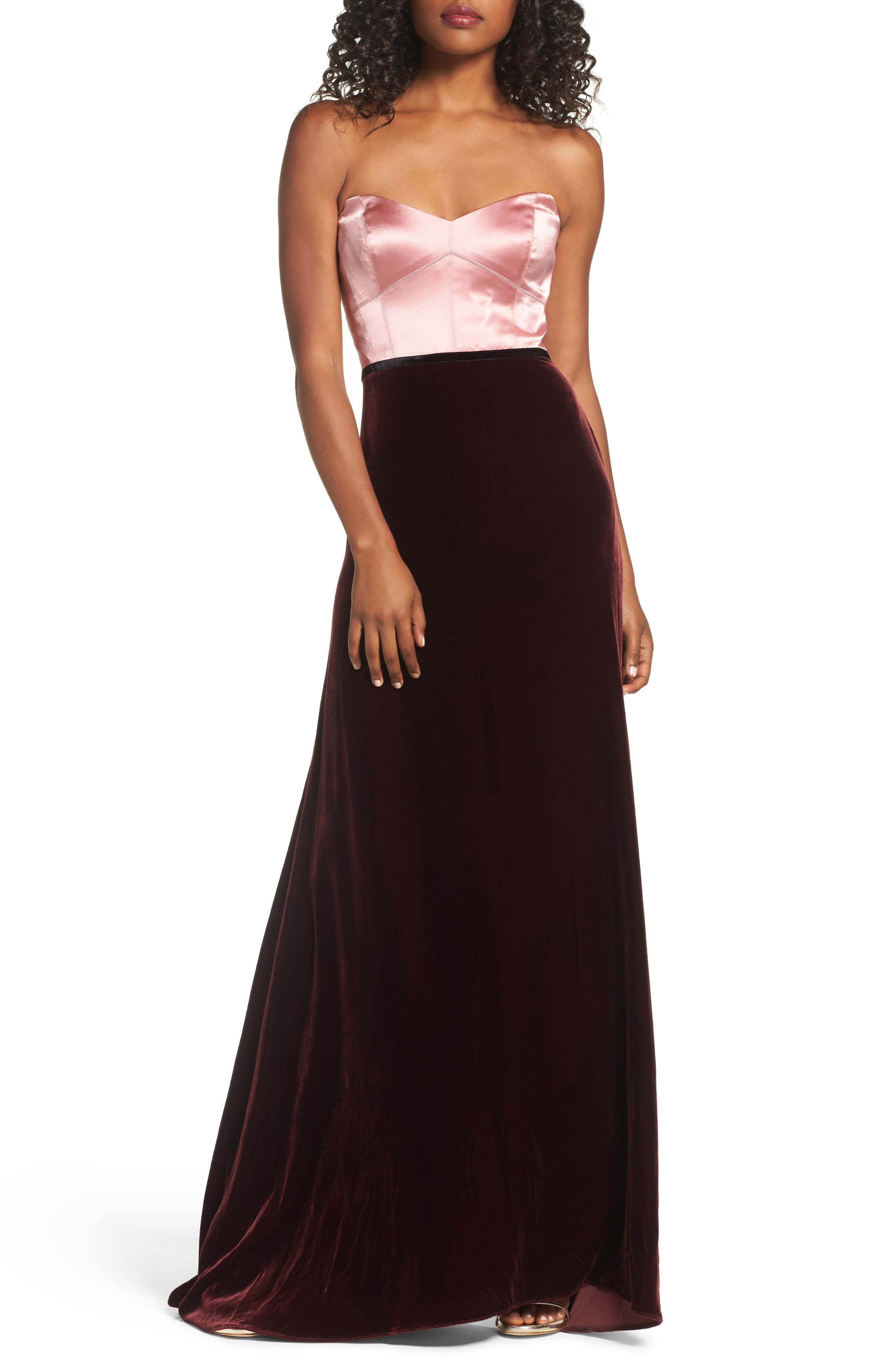 Strapless Satin & Velvet Gown,                             Main thumbnail 1, color,                             Prim Rose/ Raisin/ Black