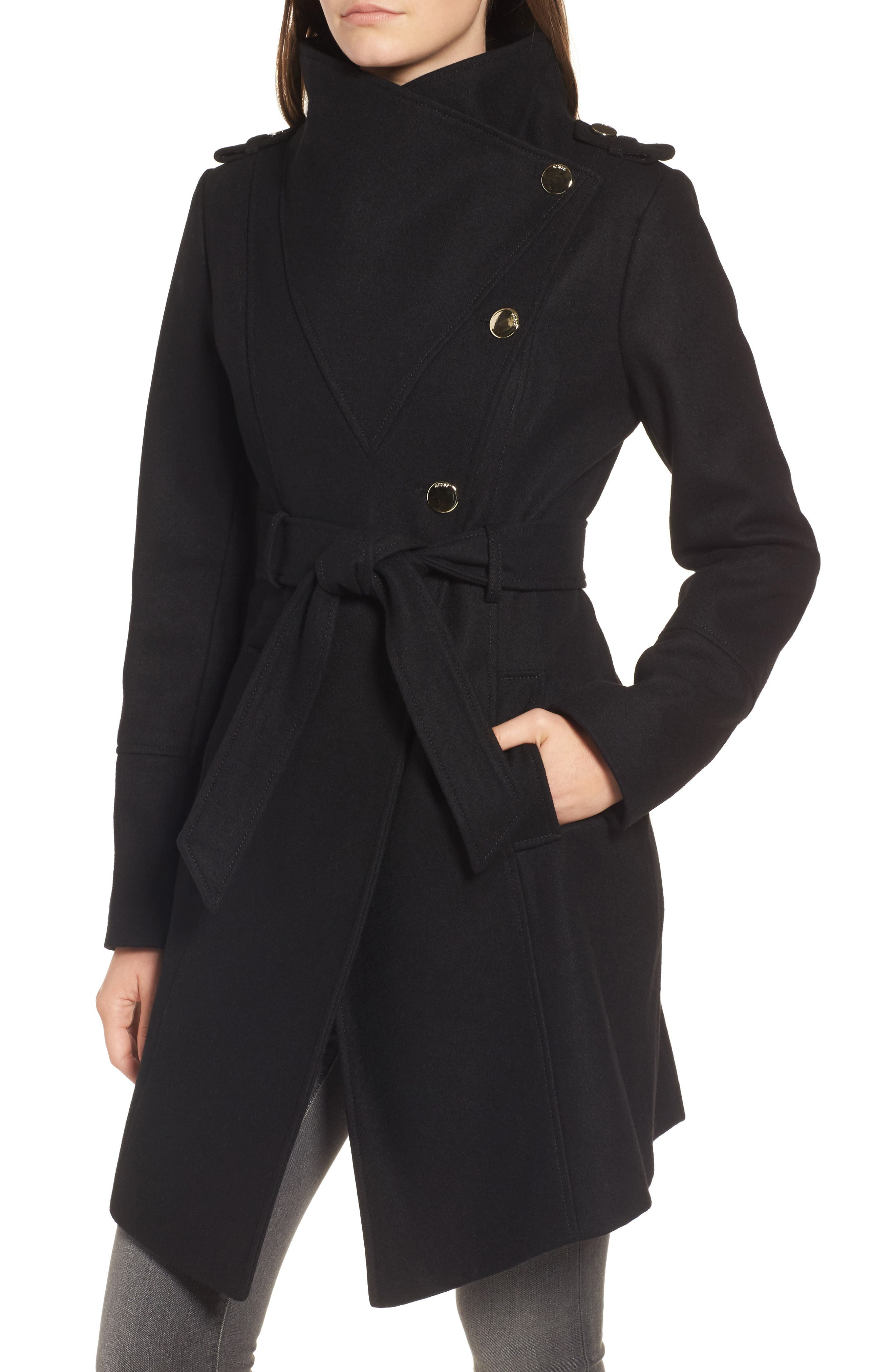 Wrap Trench Coat,                             Alternate thumbnail 4, color,                             Black
