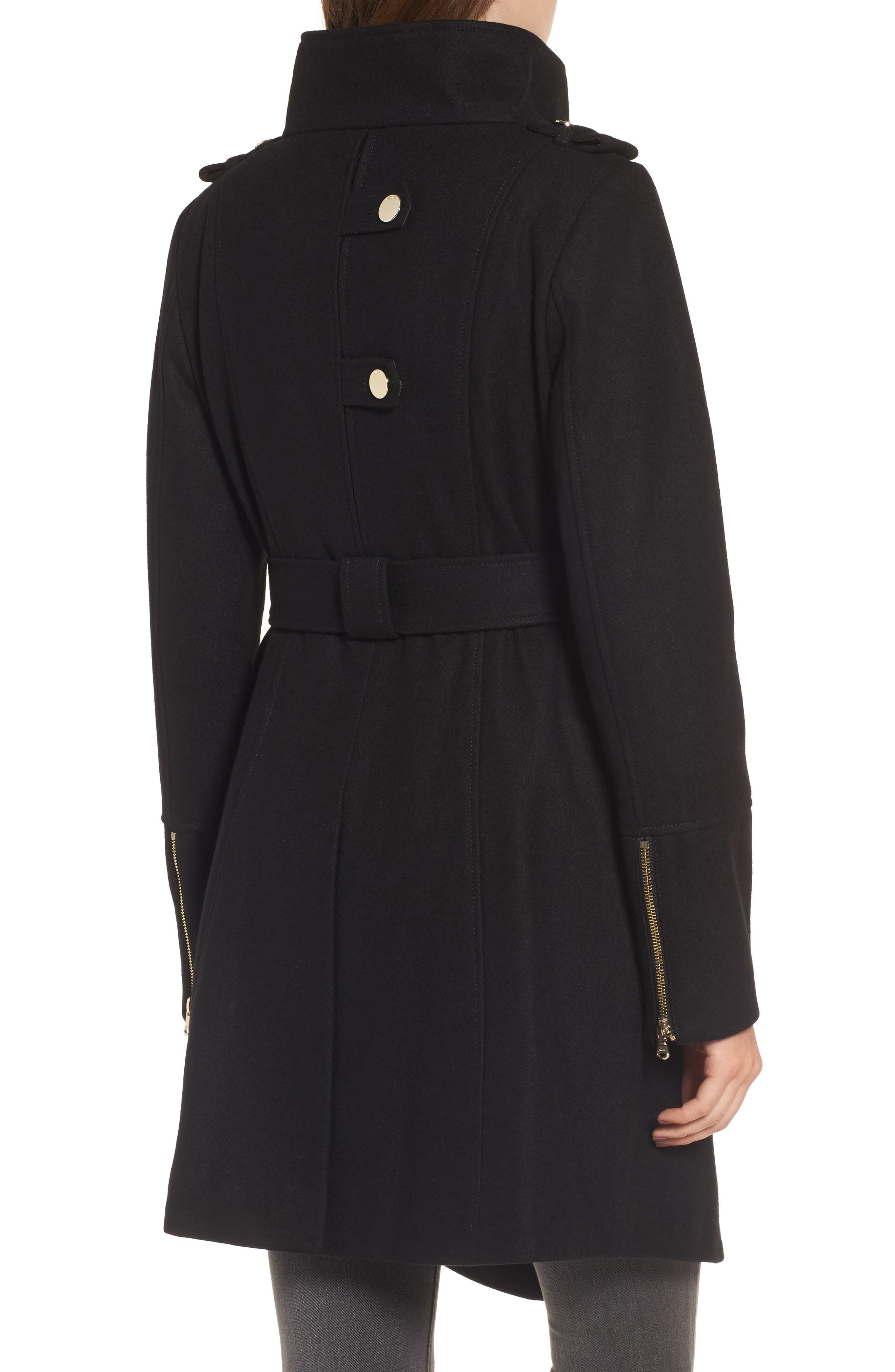 Wrap Trench Coat,                             Alternate thumbnail 2, color,                             Black