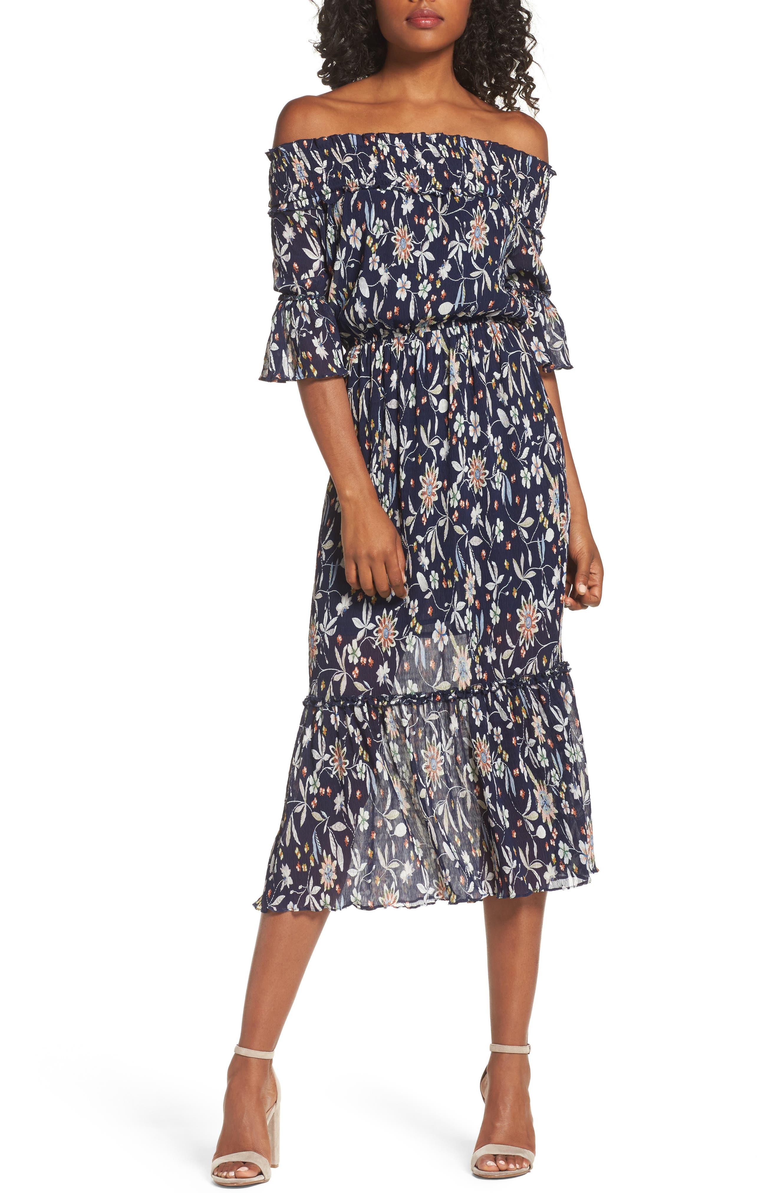 Main Image - Chelsea28 Off the Shoulder Midi Dress