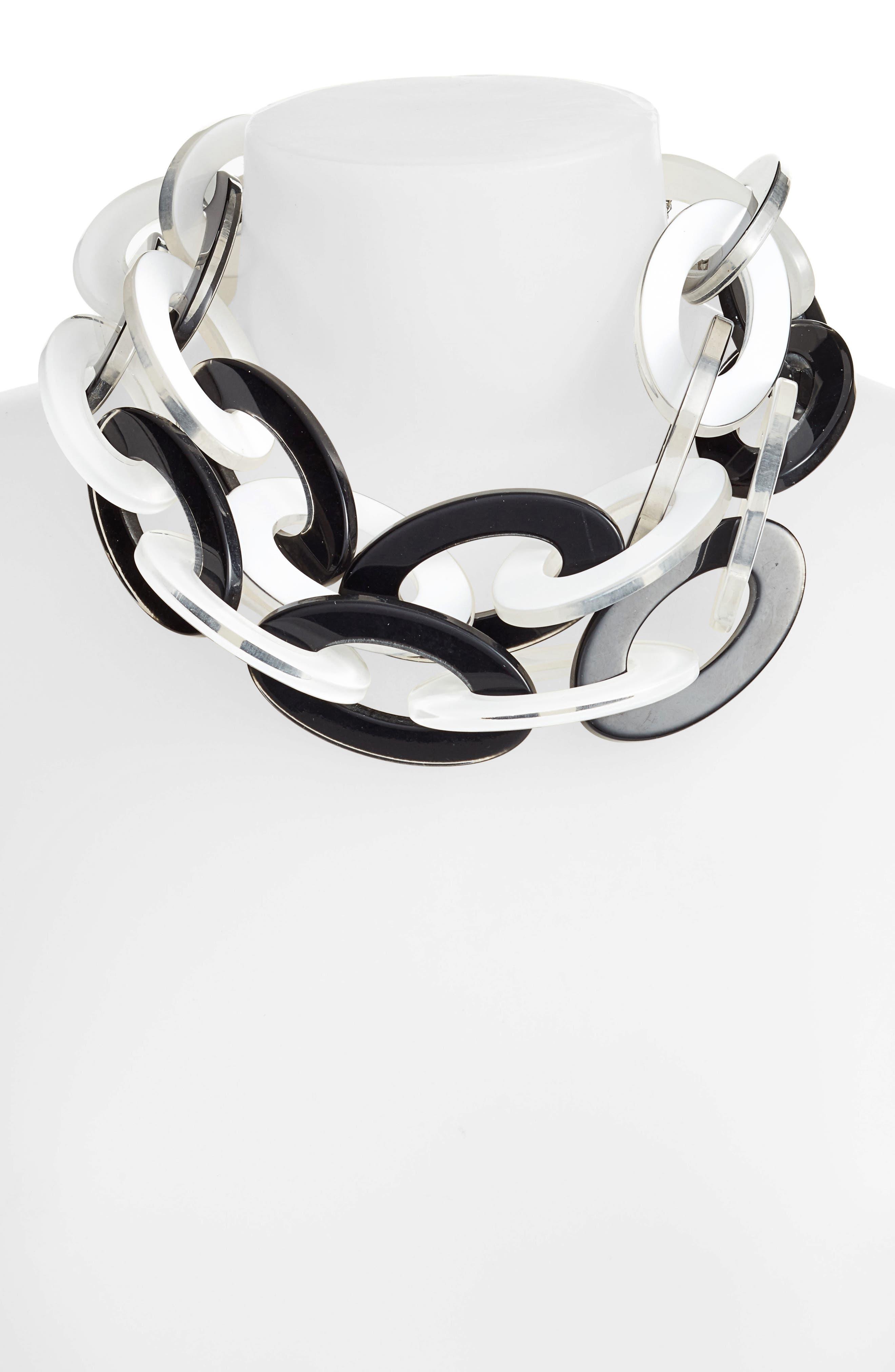 Resin Link Necklace,                             Alternate thumbnail 2, color,                             Black/ White
