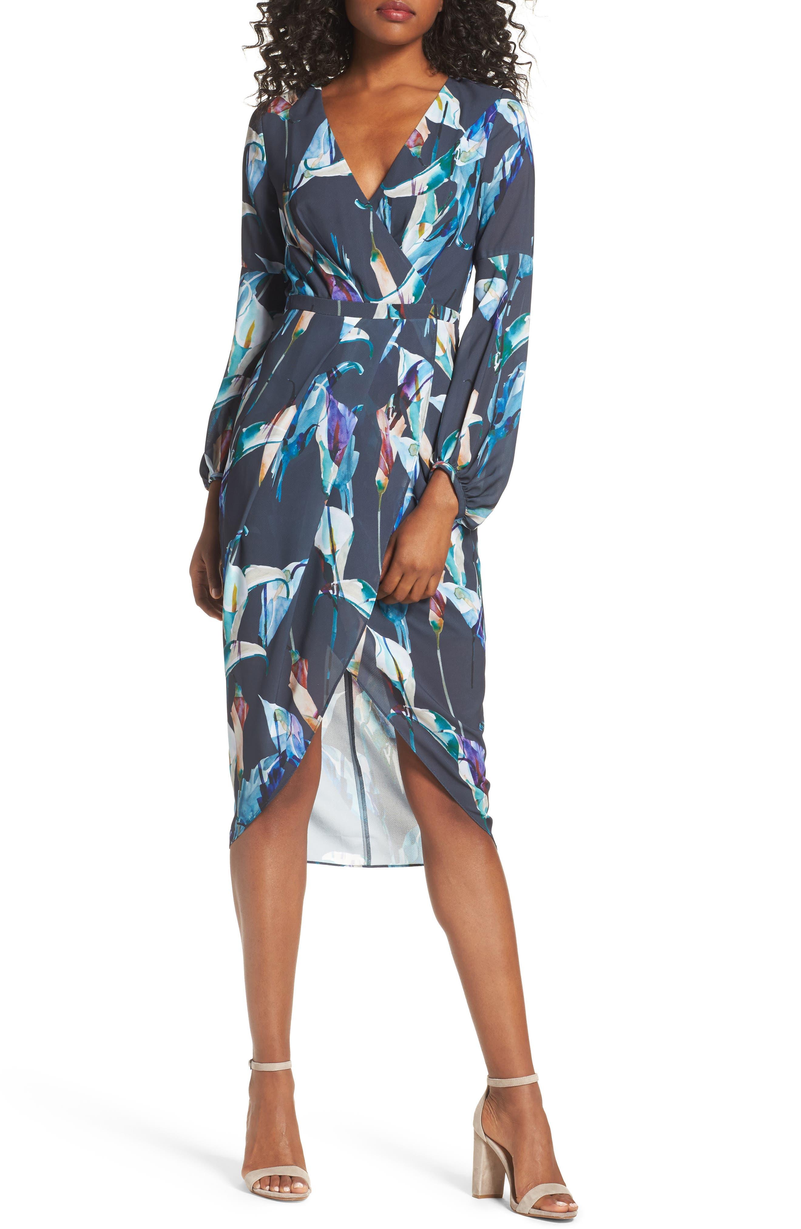 Romanticise Midi Dress,                         Main,                         color, Black/ Aqua