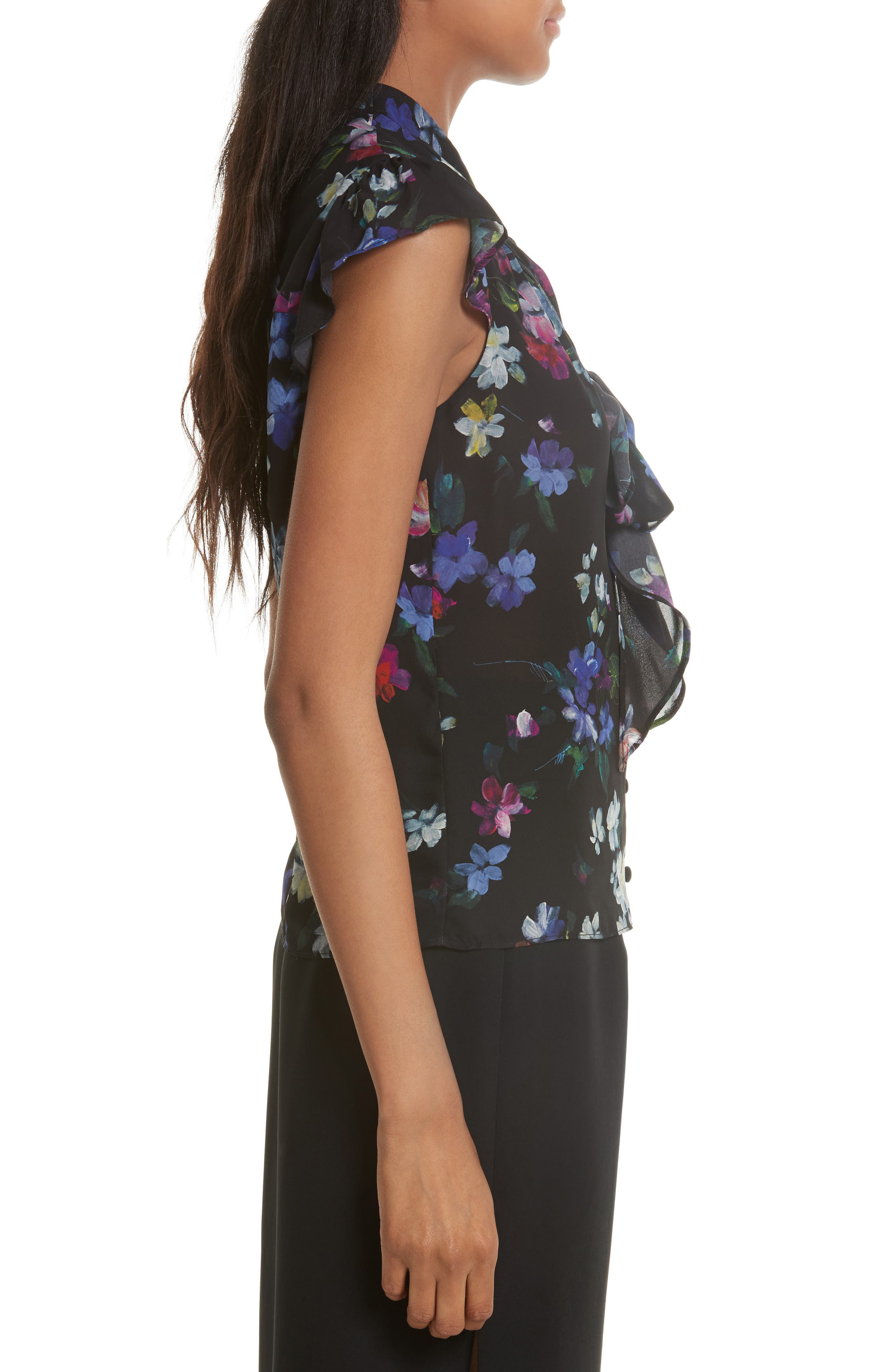 Alternate Image 3  - Milly Emily Painted Floral Silk Top