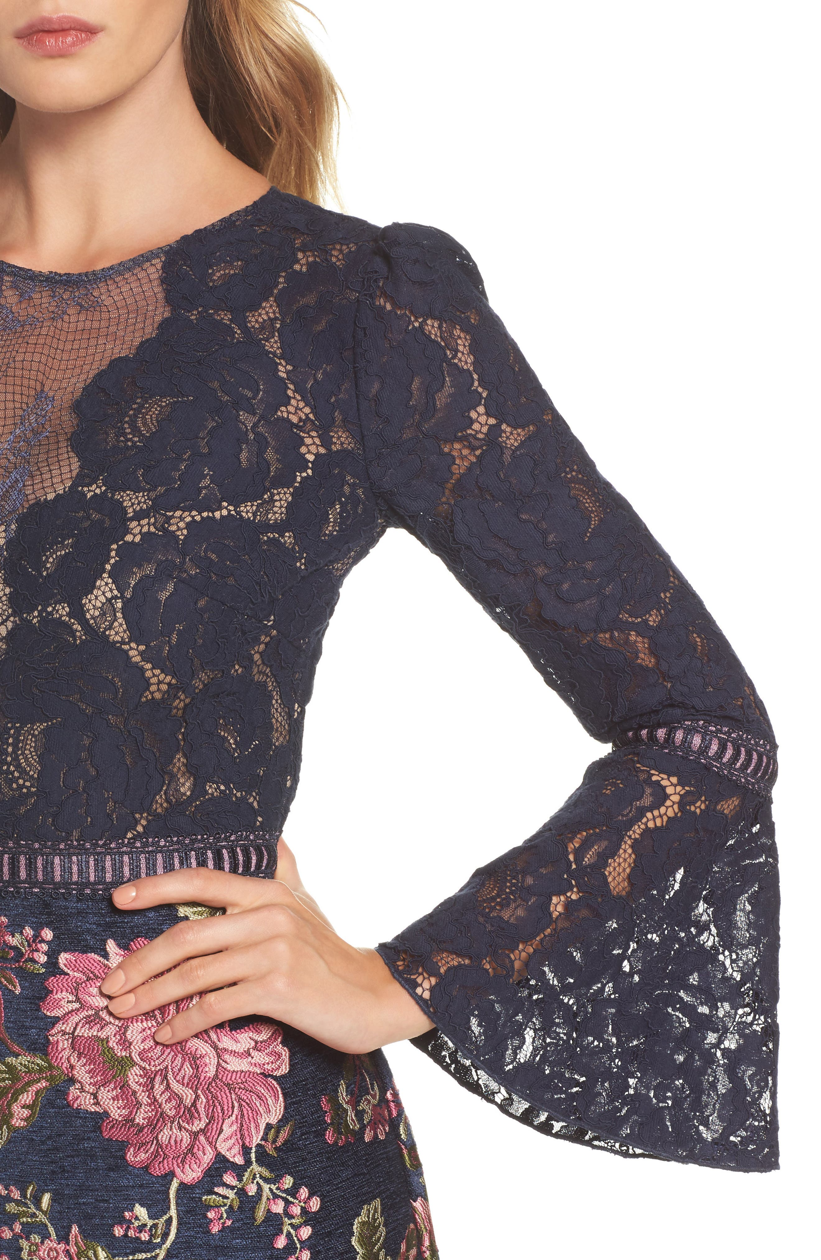 Lace Bodice Brocade Gown,                             Alternate thumbnail 4, color,                             Navy