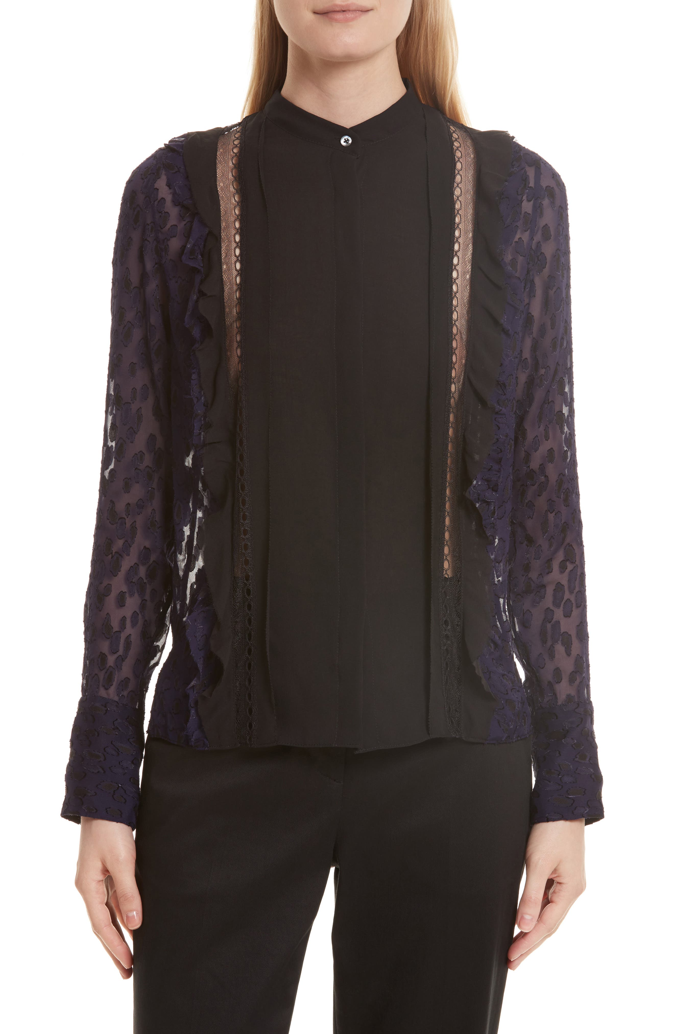 3.1 Phillip Lim Fil Coupé Silk Blend Blouse