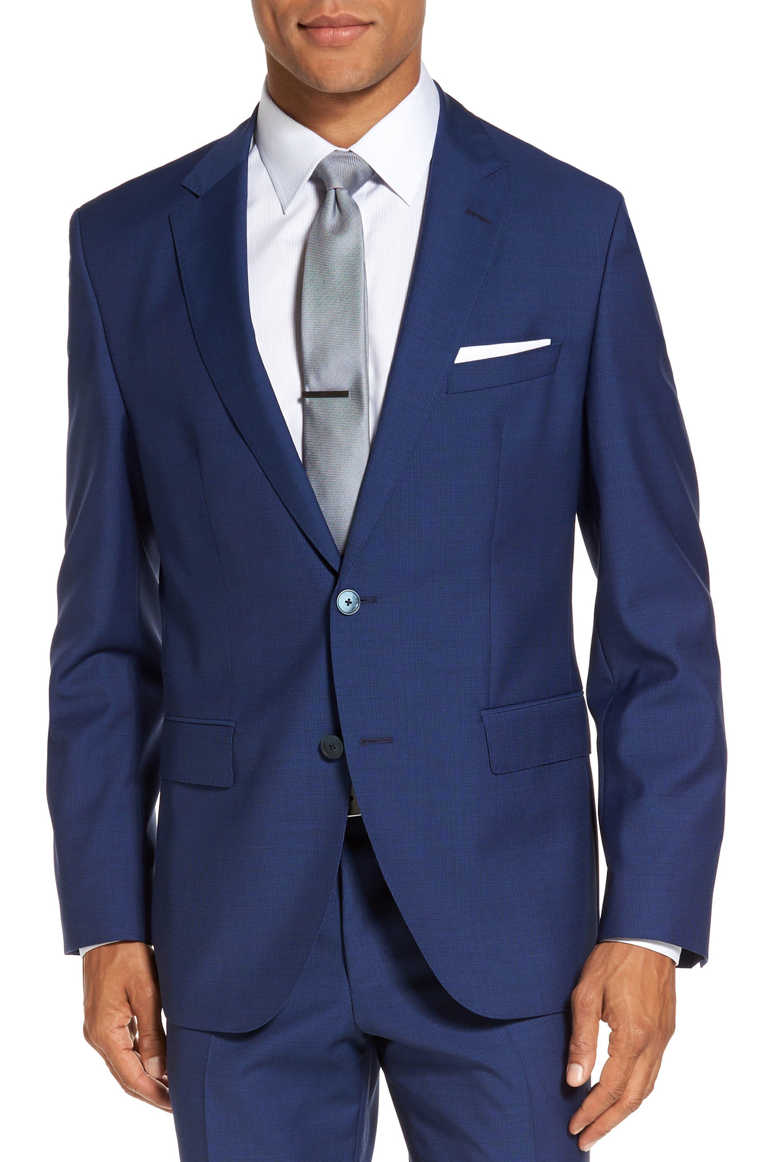 Trim Fit Solid Wool Suit,                             Alternate thumbnail 5, color,                             Bright Blue