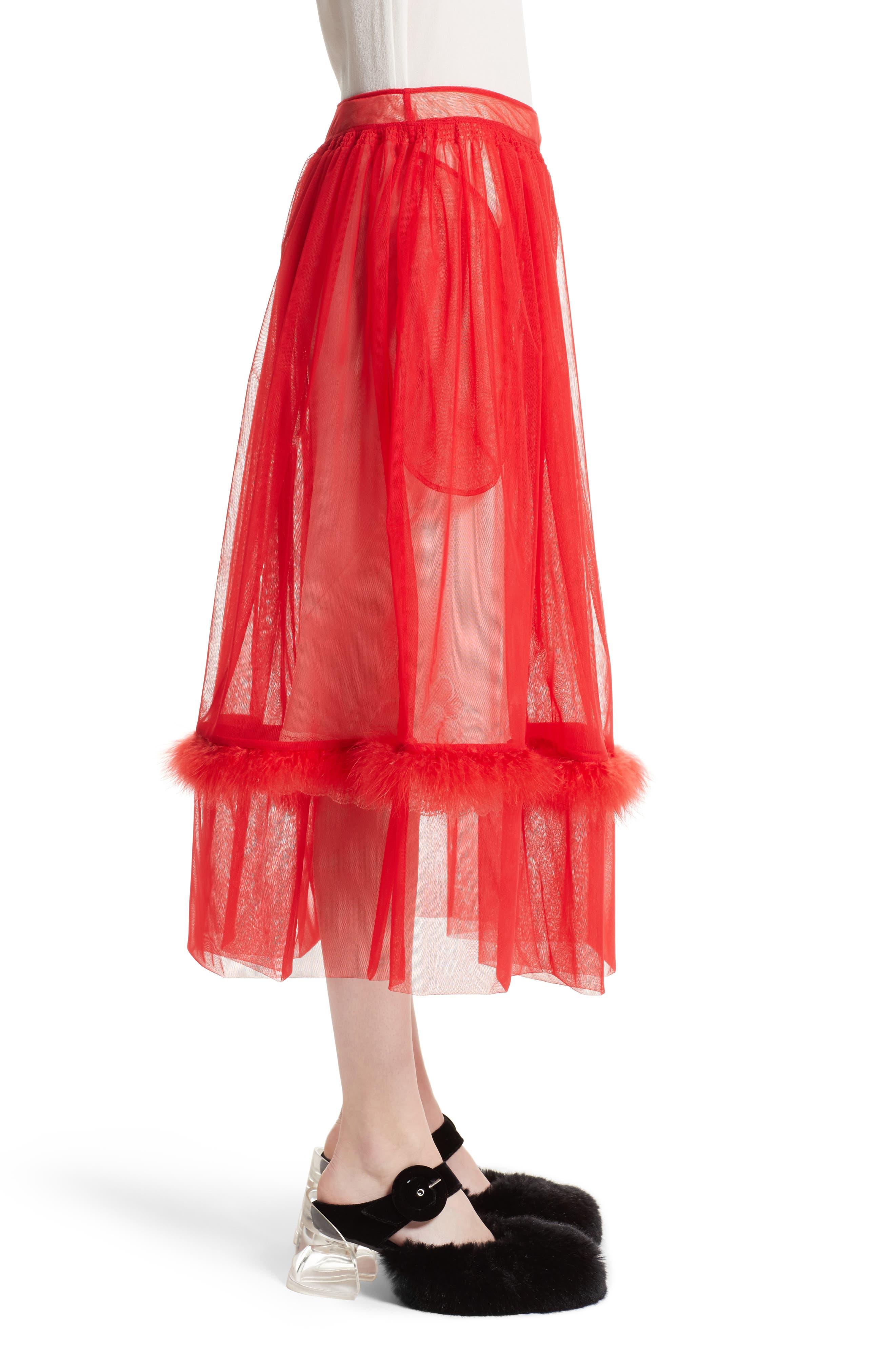 Marabou Trim Smock Waist Tulle Skirt,                             Alternate thumbnail 4, color,                             Red