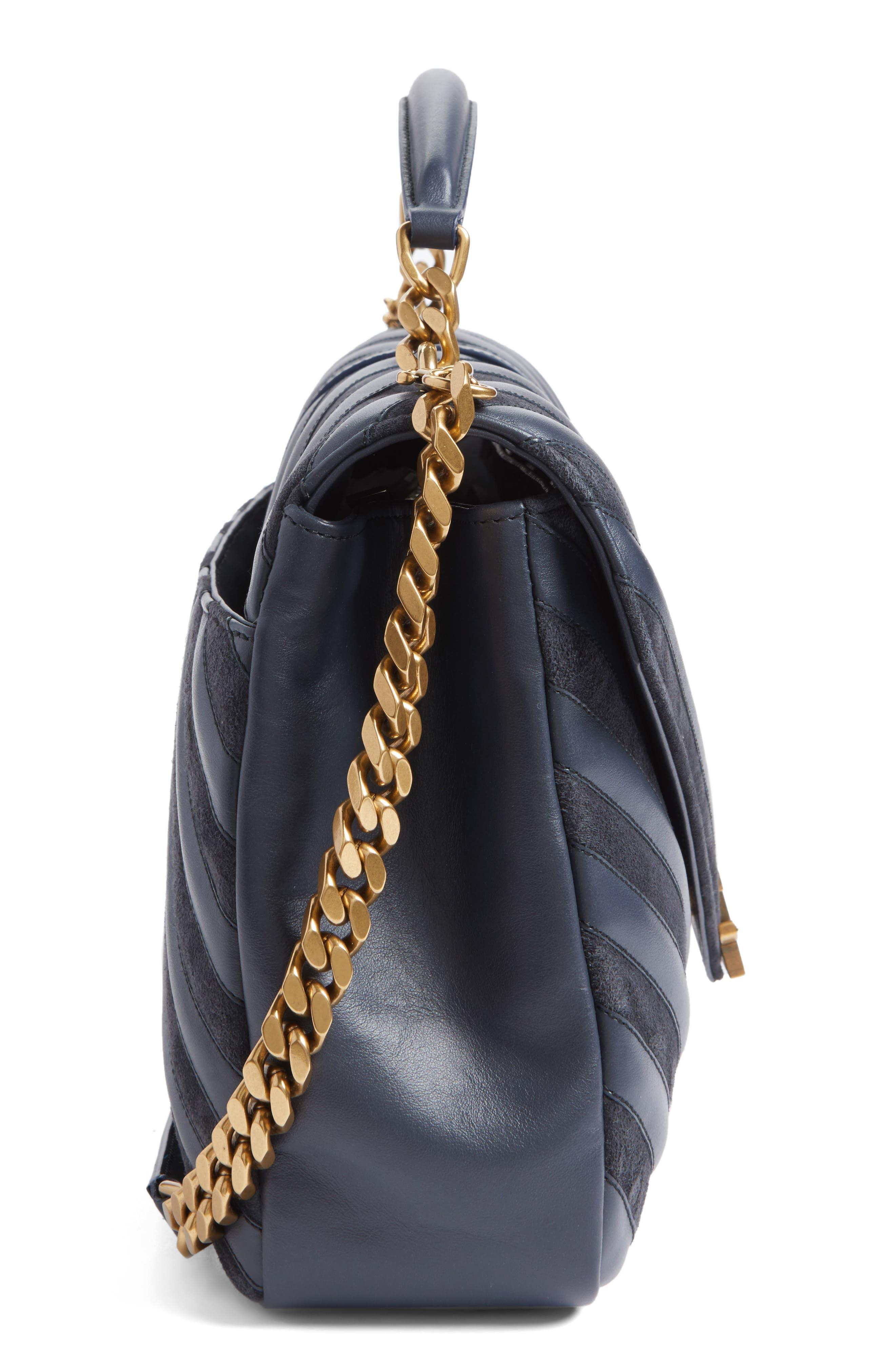 Medium College Patchwork Suede & Leather Shoulder Bag,                             Alternate thumbnail 5, color,                             Graphite