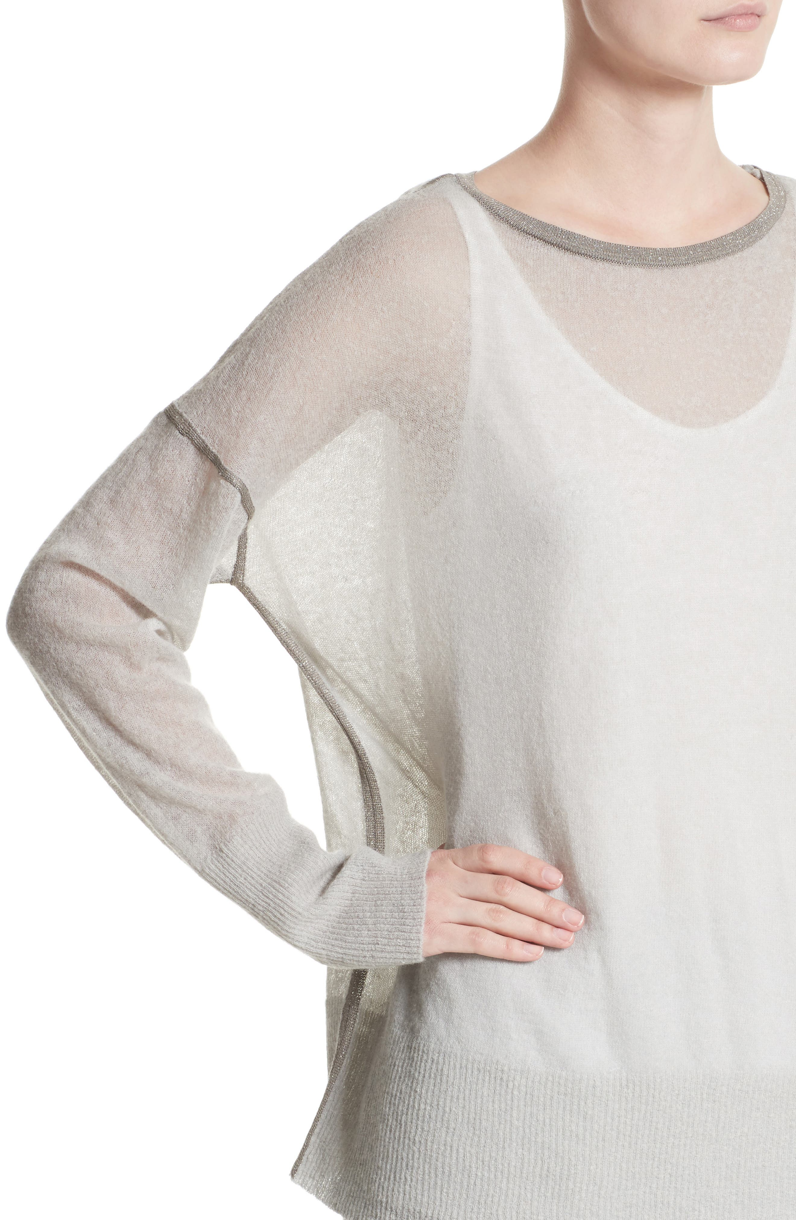 Sequin Trim Sweater with Tank,                             Alternate thumbnail 6, color,                             Antique Silver
