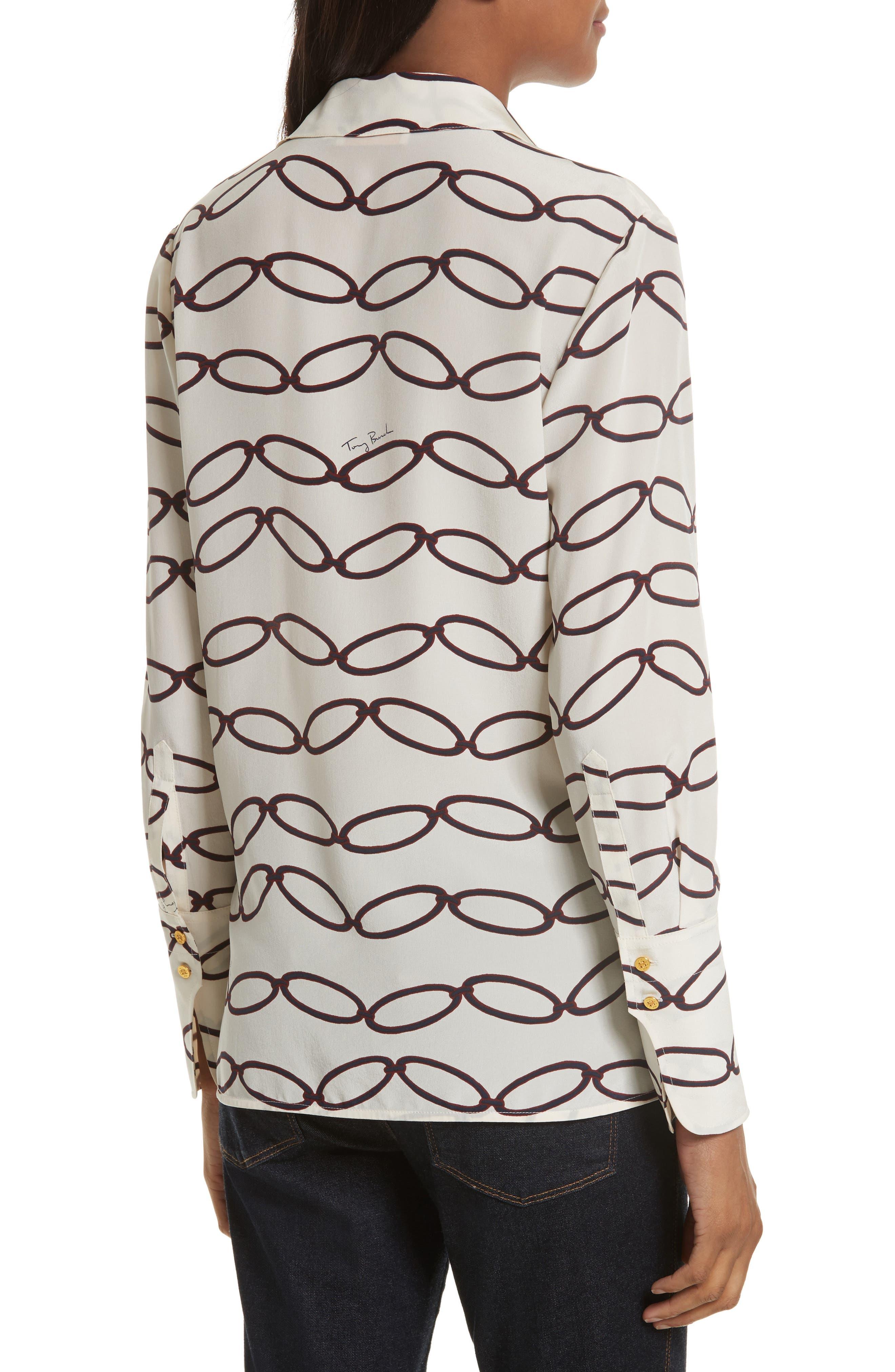 Erica Print Silk Shirt,                             Alternate thumbnail 2, color,                             Elliptical Link - Combo A