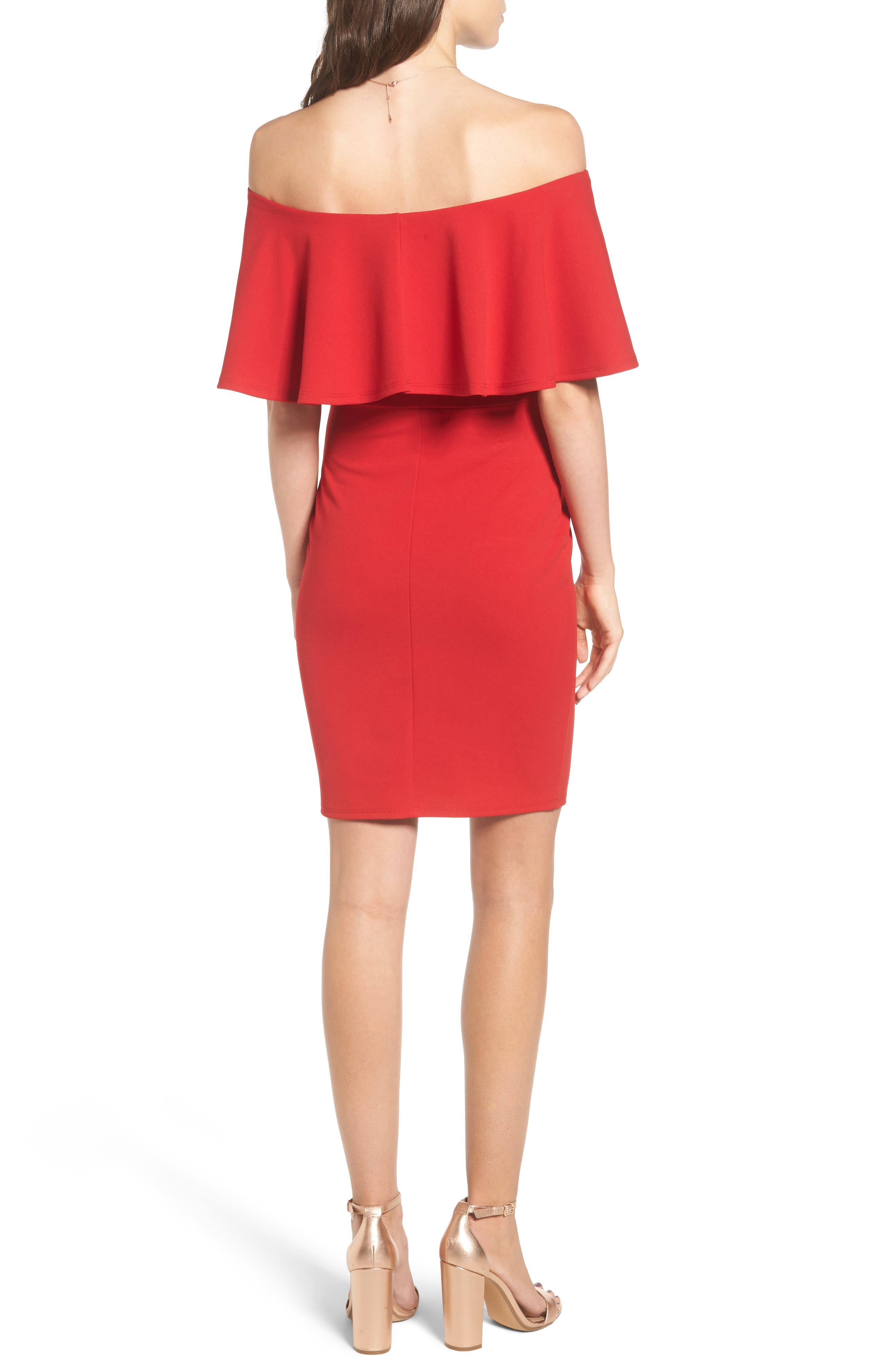Ruffle Off the Shoulder Body-Con Dress,                             Alternate thumbnail 2, color,                             African Red