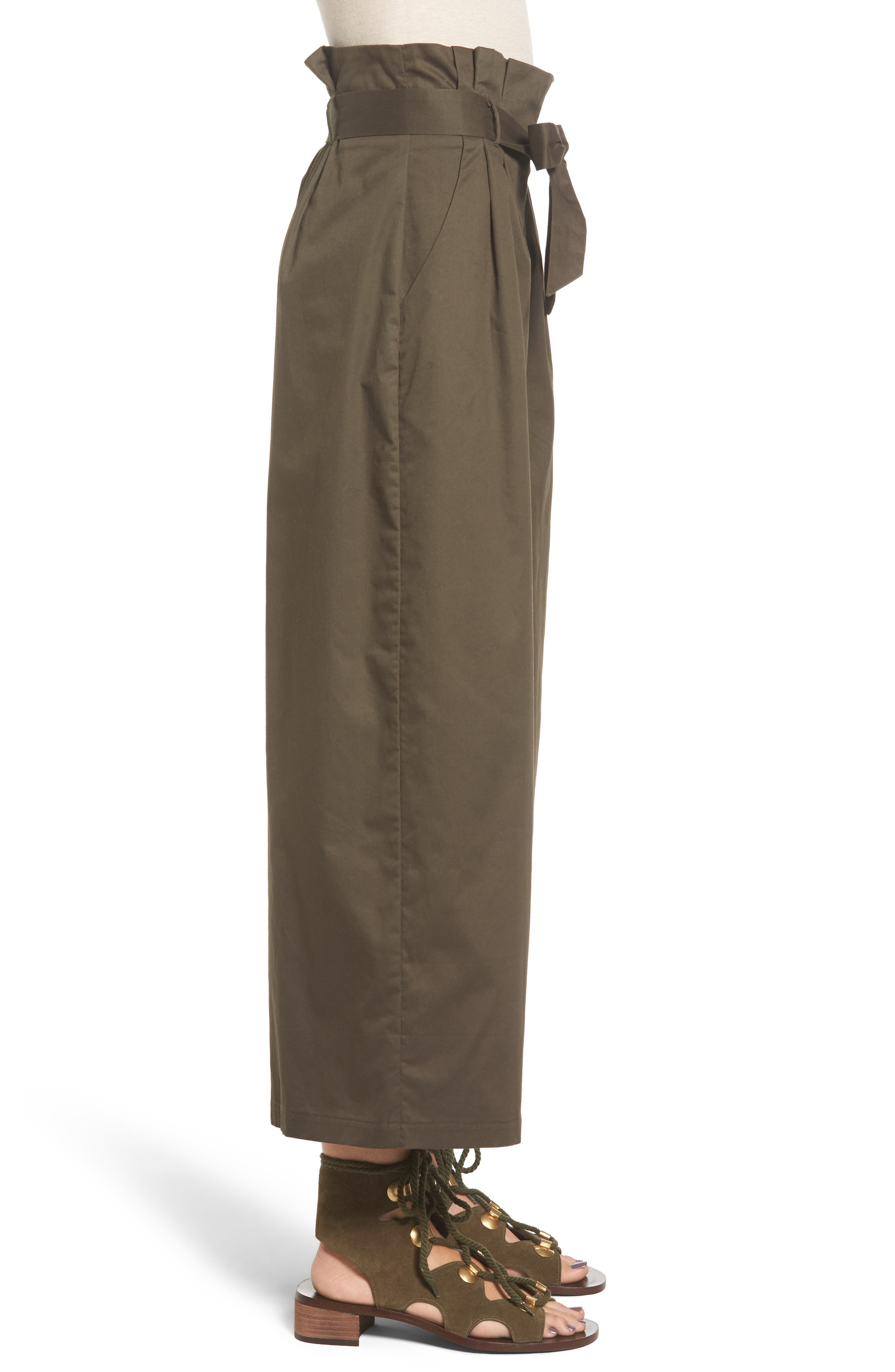 Paperbag Waist Wide Leg Pants,                             Alternate thumbnail 3, color,                             Brined Olive