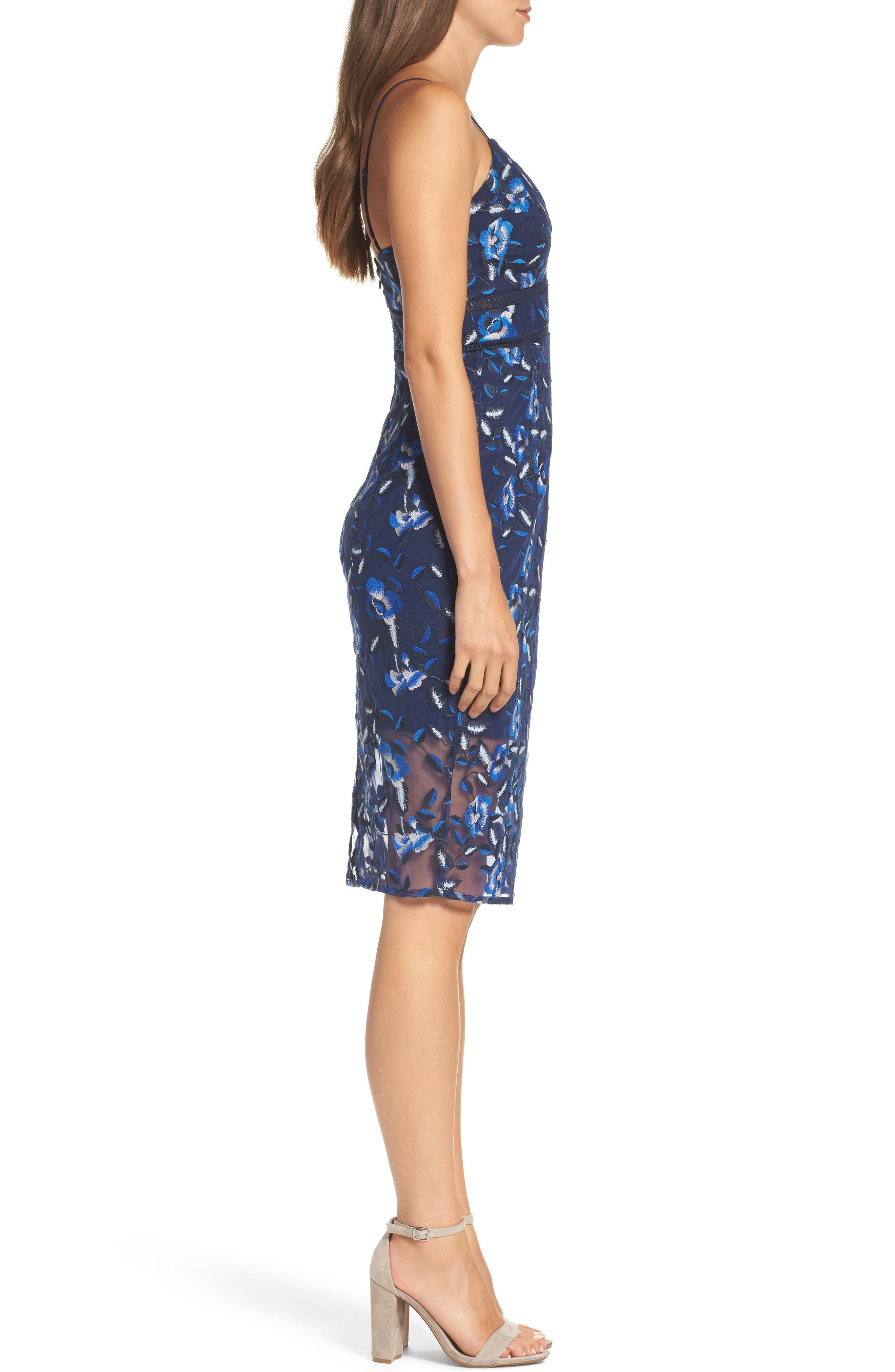 Sapphire Lace Pencil Dress,                             Alternate thumbnail 3, color,                             Floral