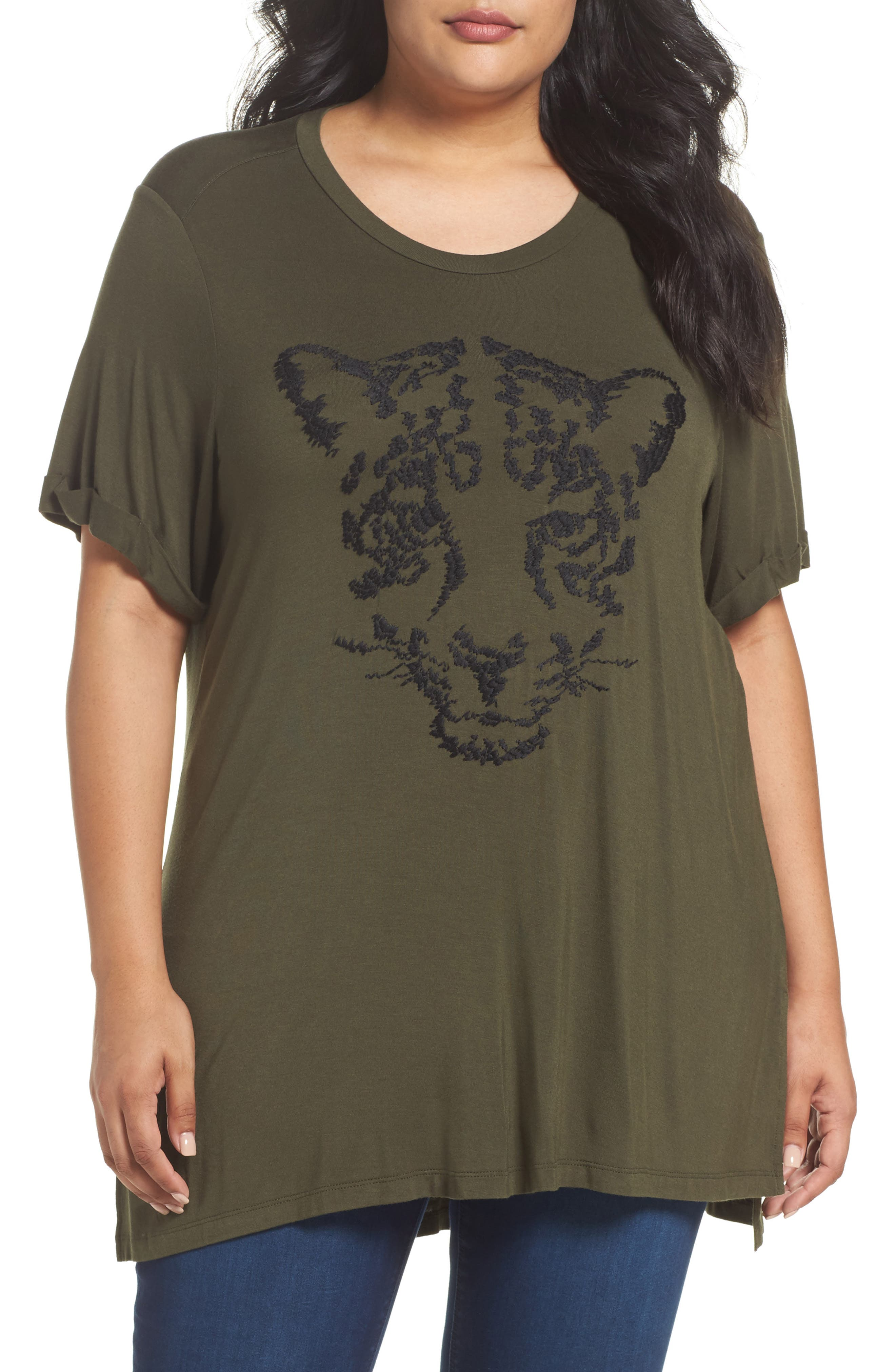 MELISSA MCCARTHY SEVEN7 Embroidered Roll Sleeve Tunic