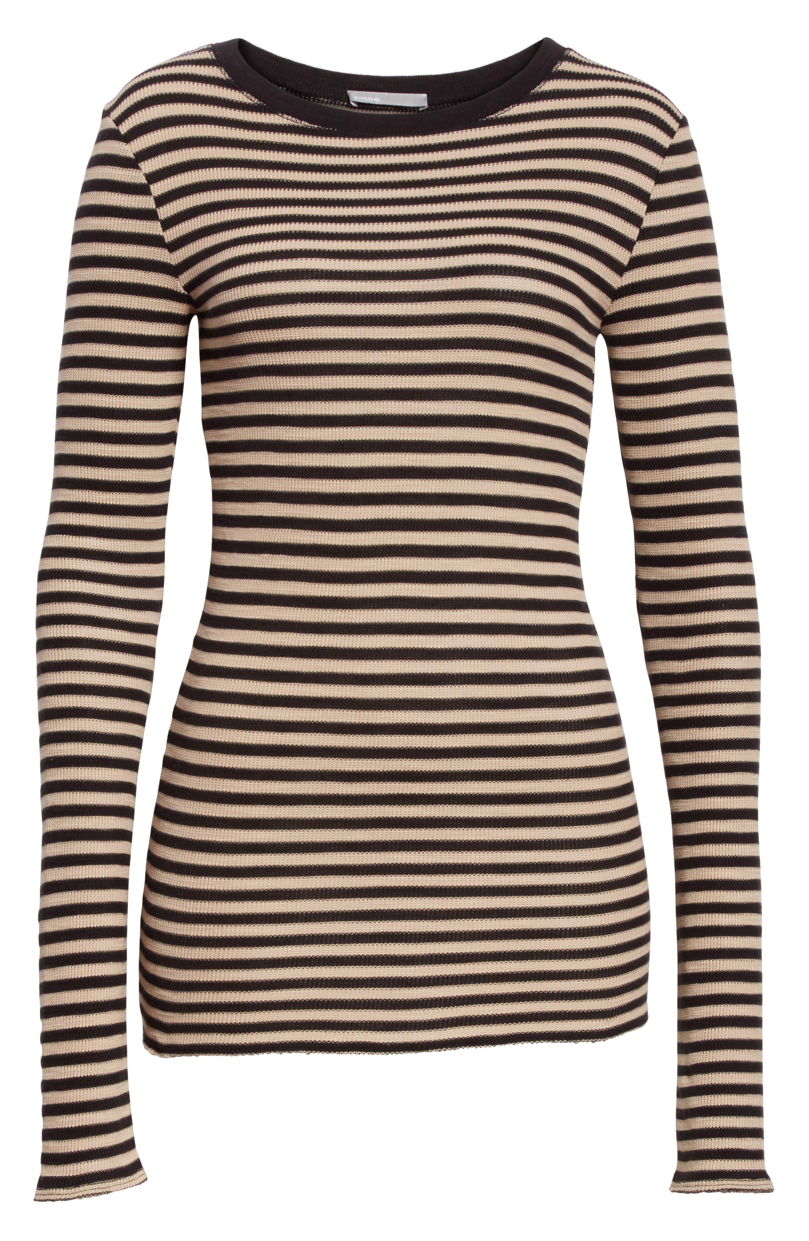 Railroad Stripe Crewneck Sweater,                             Alternate thumbnail 8, color,                             Taupe/ Black