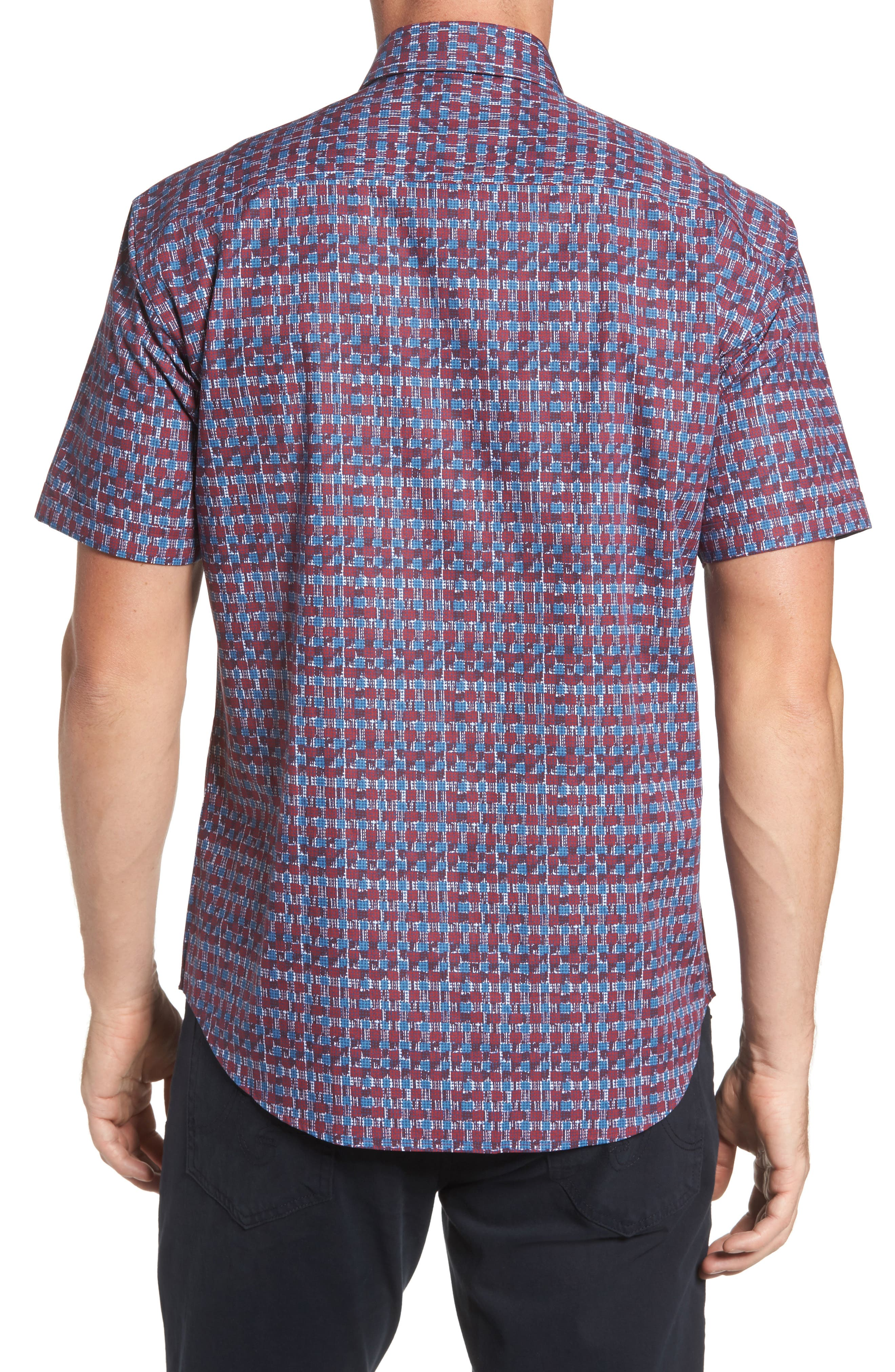 Shaped Fit Abstract Check Sport Shirt,                             Alternate thumbnail 2, color,                             Ruby