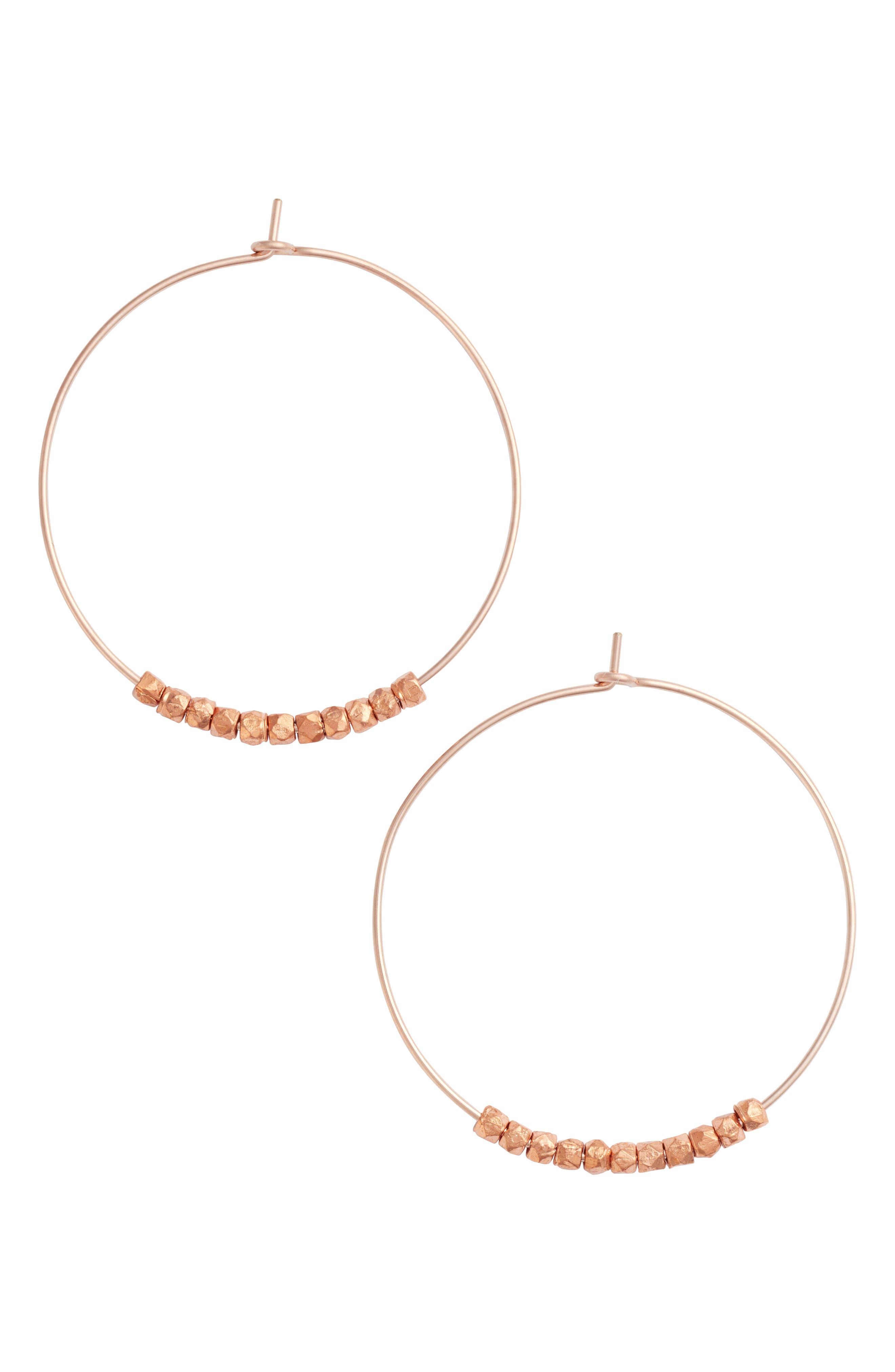 Karly Glistening Hoop Earrings,                         Main,                         color, Rose Gold