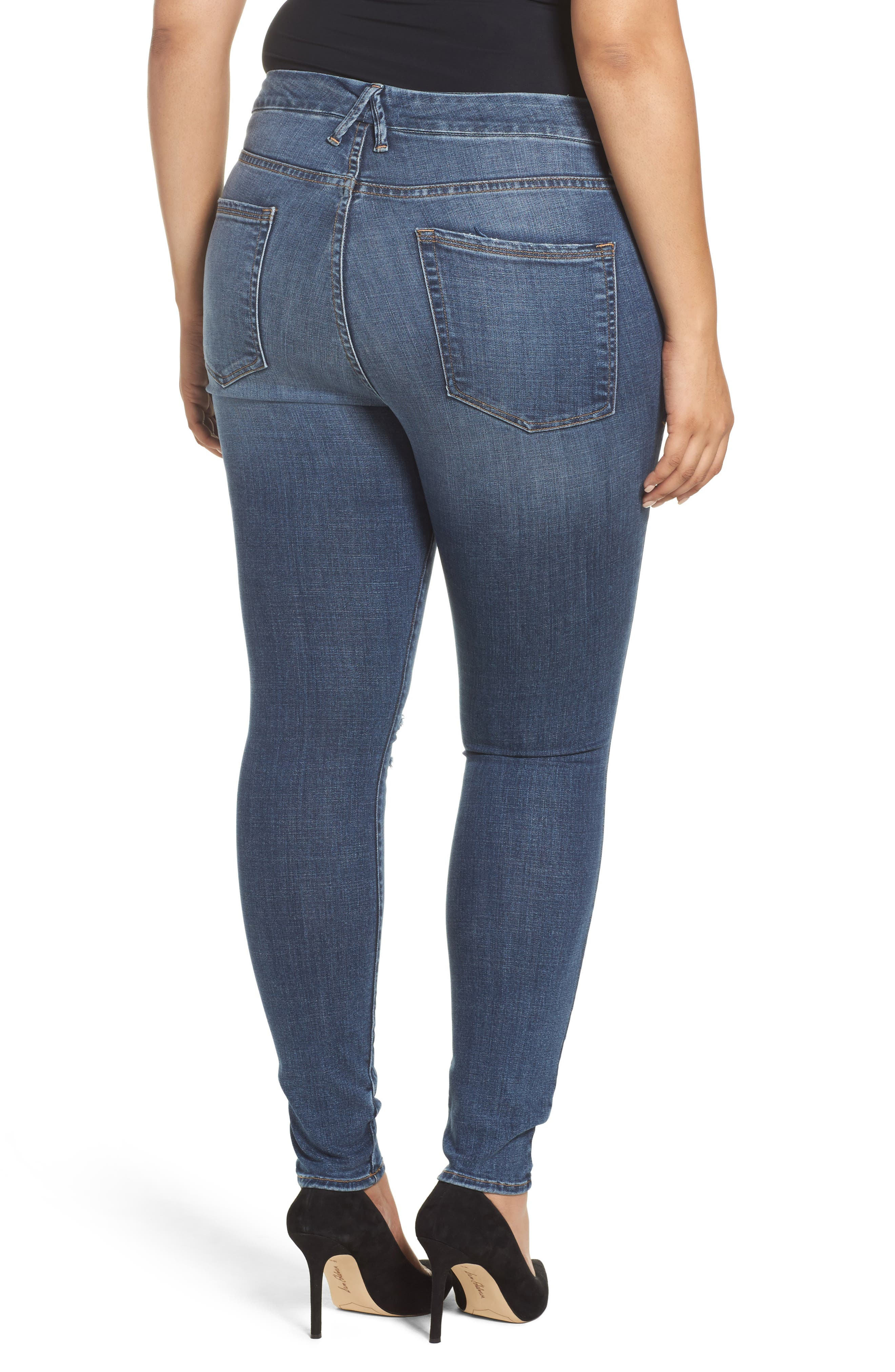 Alternate Image 8  - Good American Good Legs High Waist Ankle Skinny Jeans (Blue 084) (Regular & Plus Size)