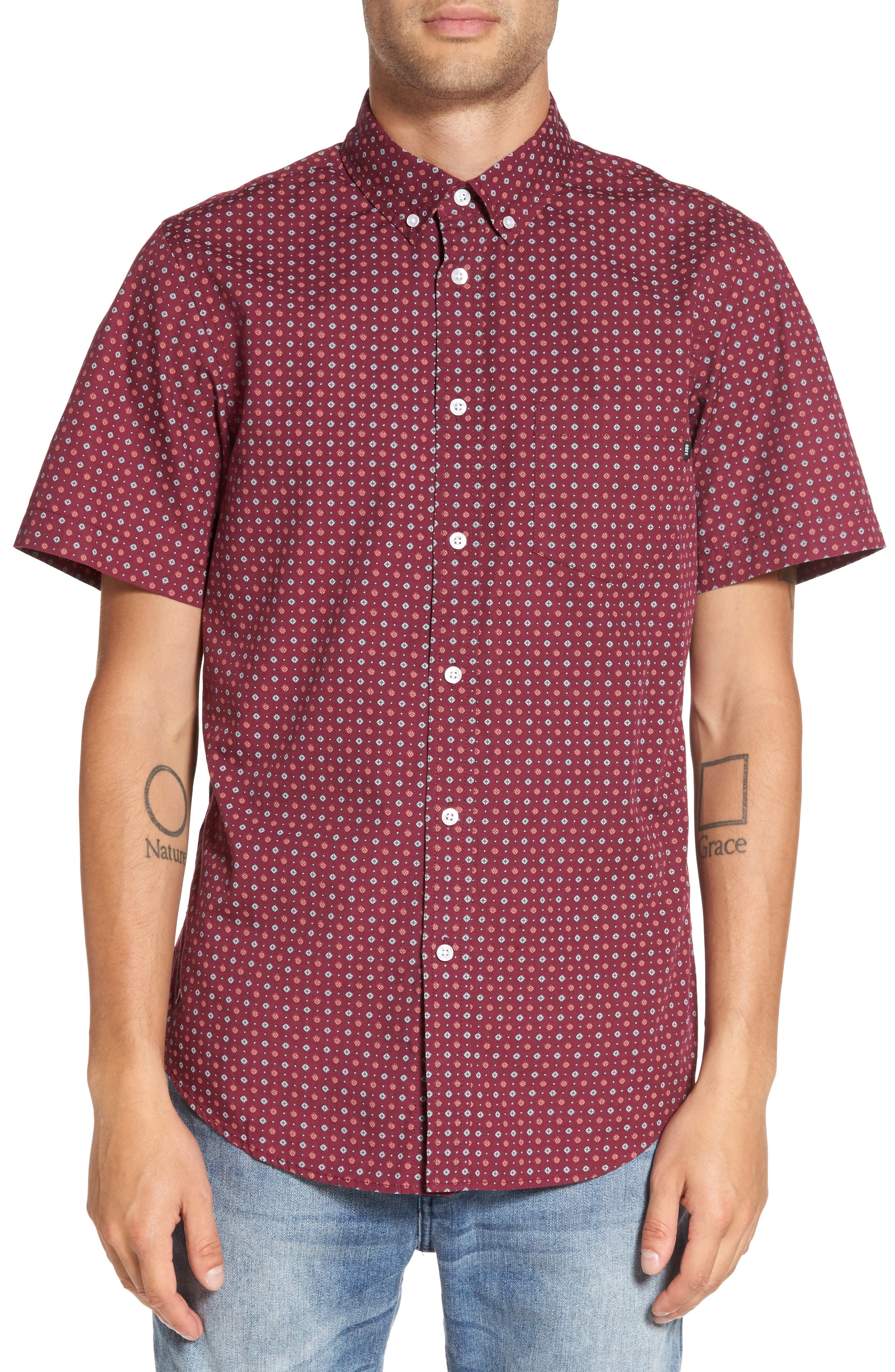 Sterling Woven Shirt,                         Main,                         color, Raspberry Multi