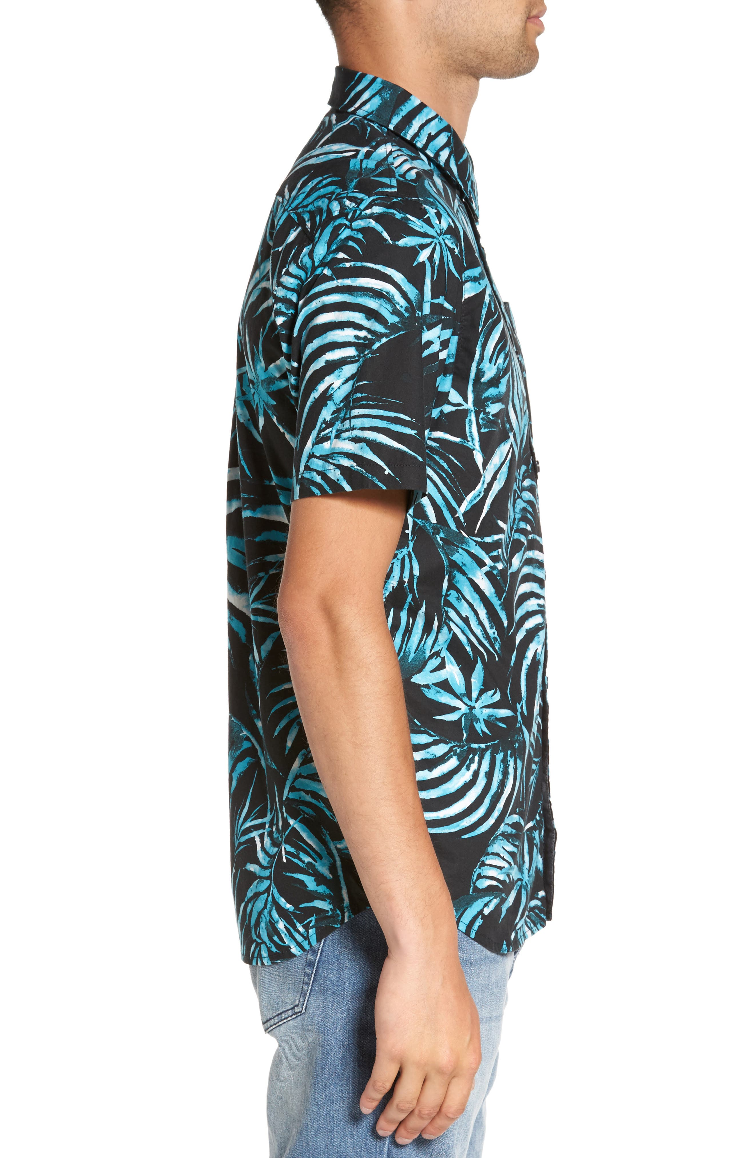 Del Playa Palm Print Woven Shirt,                             Alternate thumbnail 3, color,                             Black Water Palm