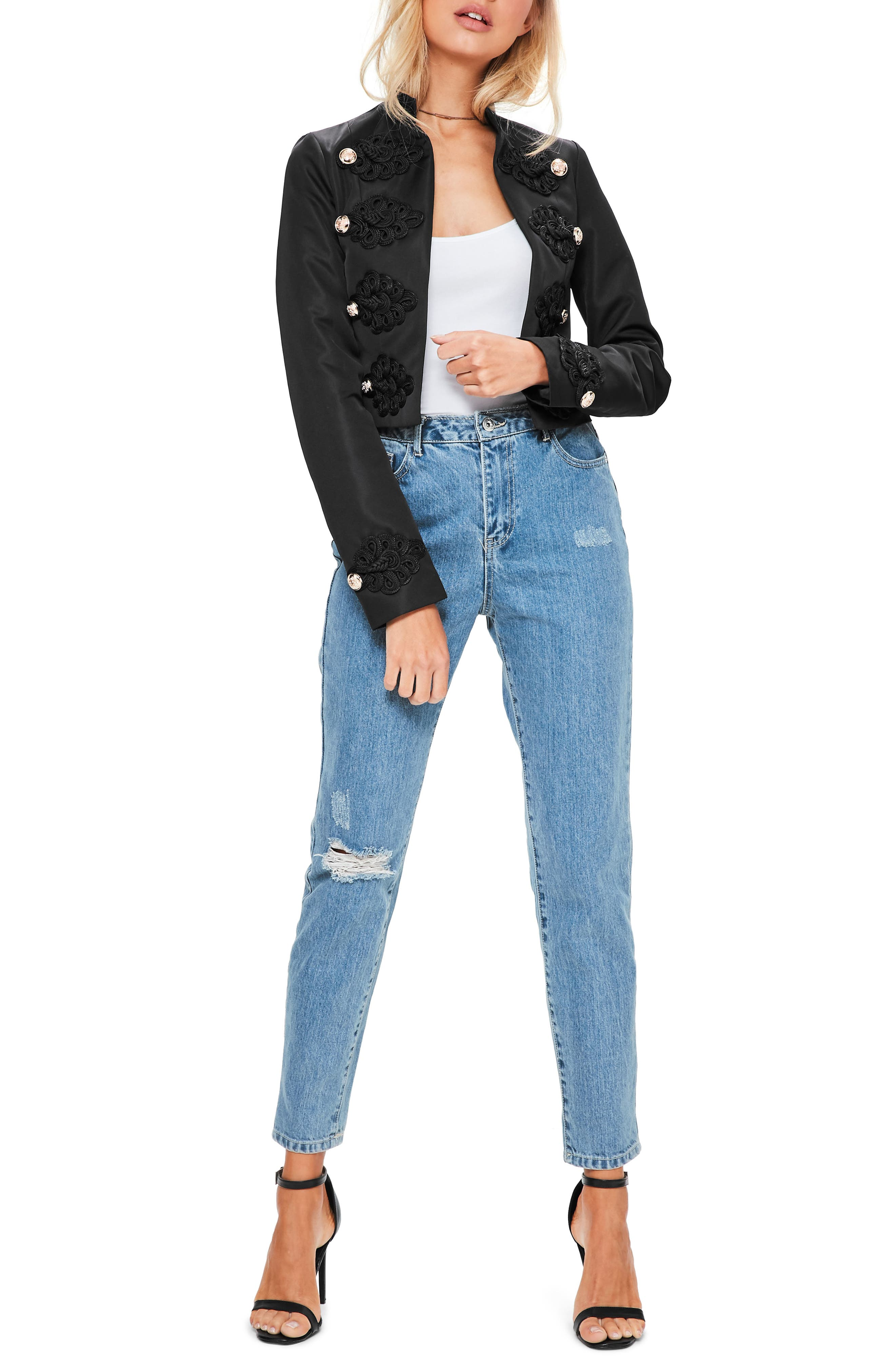 Main Image - Missguided Crop Military Jacket