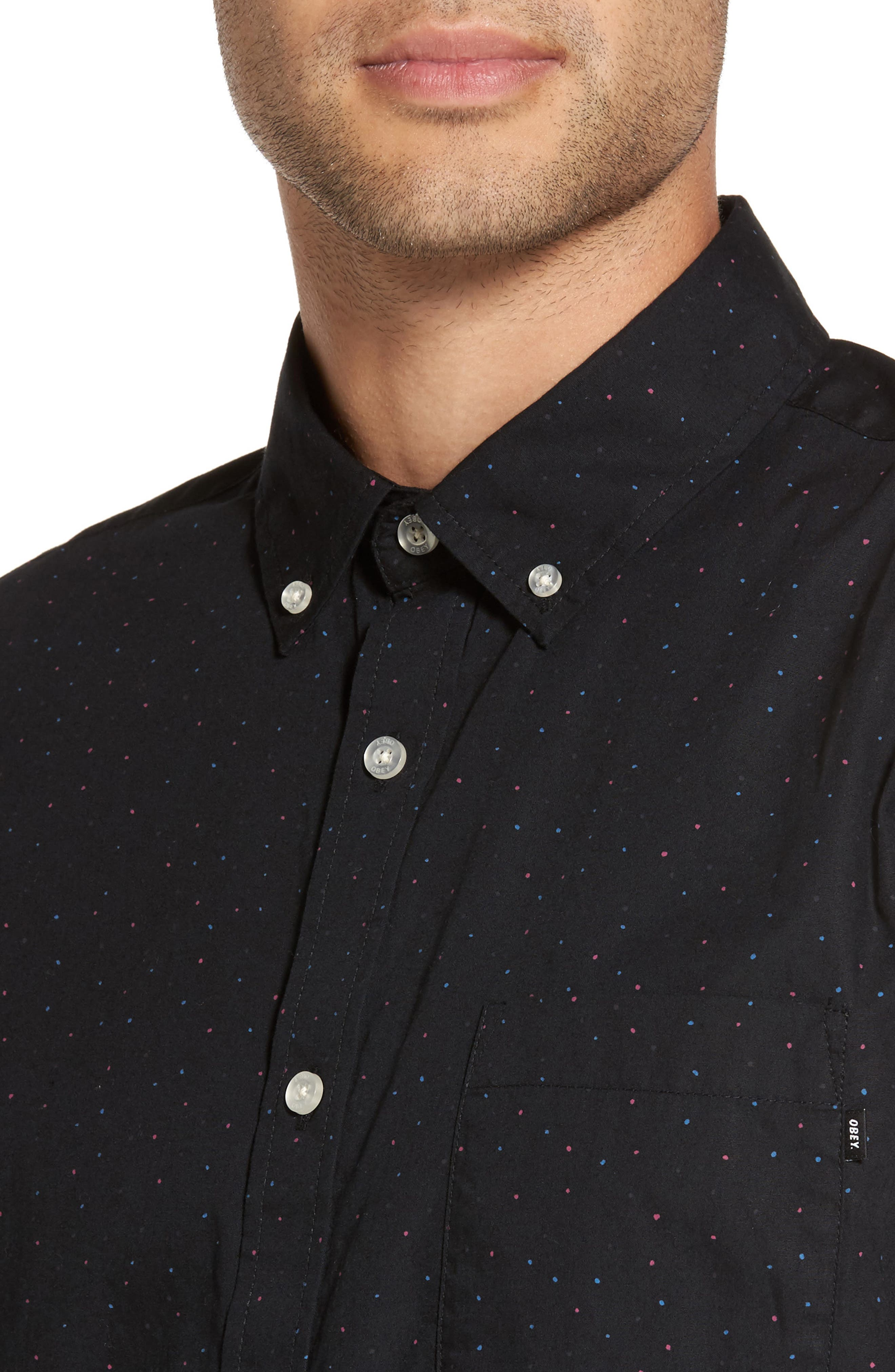 Alternate Image 4  - Obey Voyage Flecked Woven Shirt