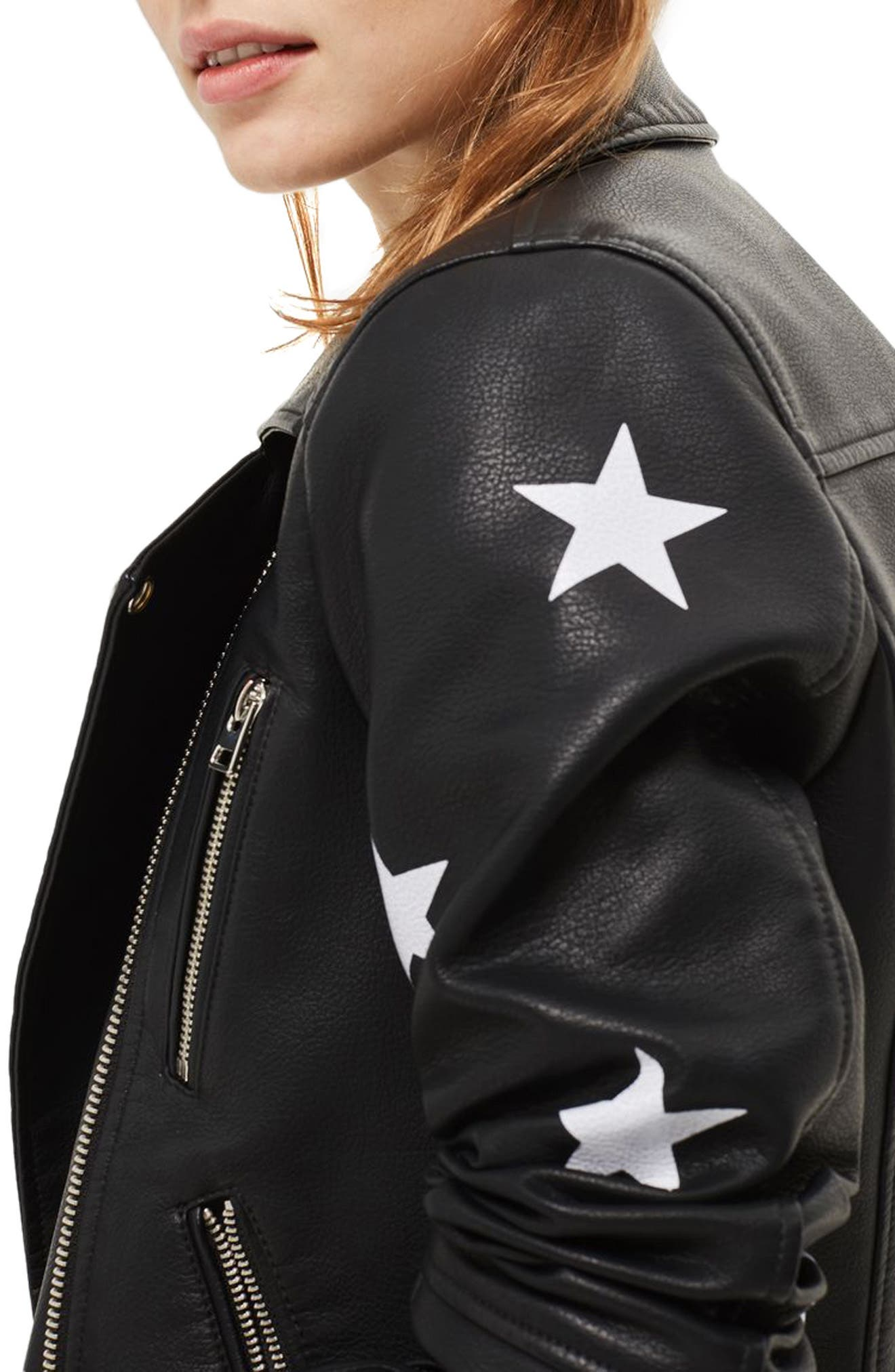 Alternate Image 4  - Topshop Soul Faux Leather Biker Jacket