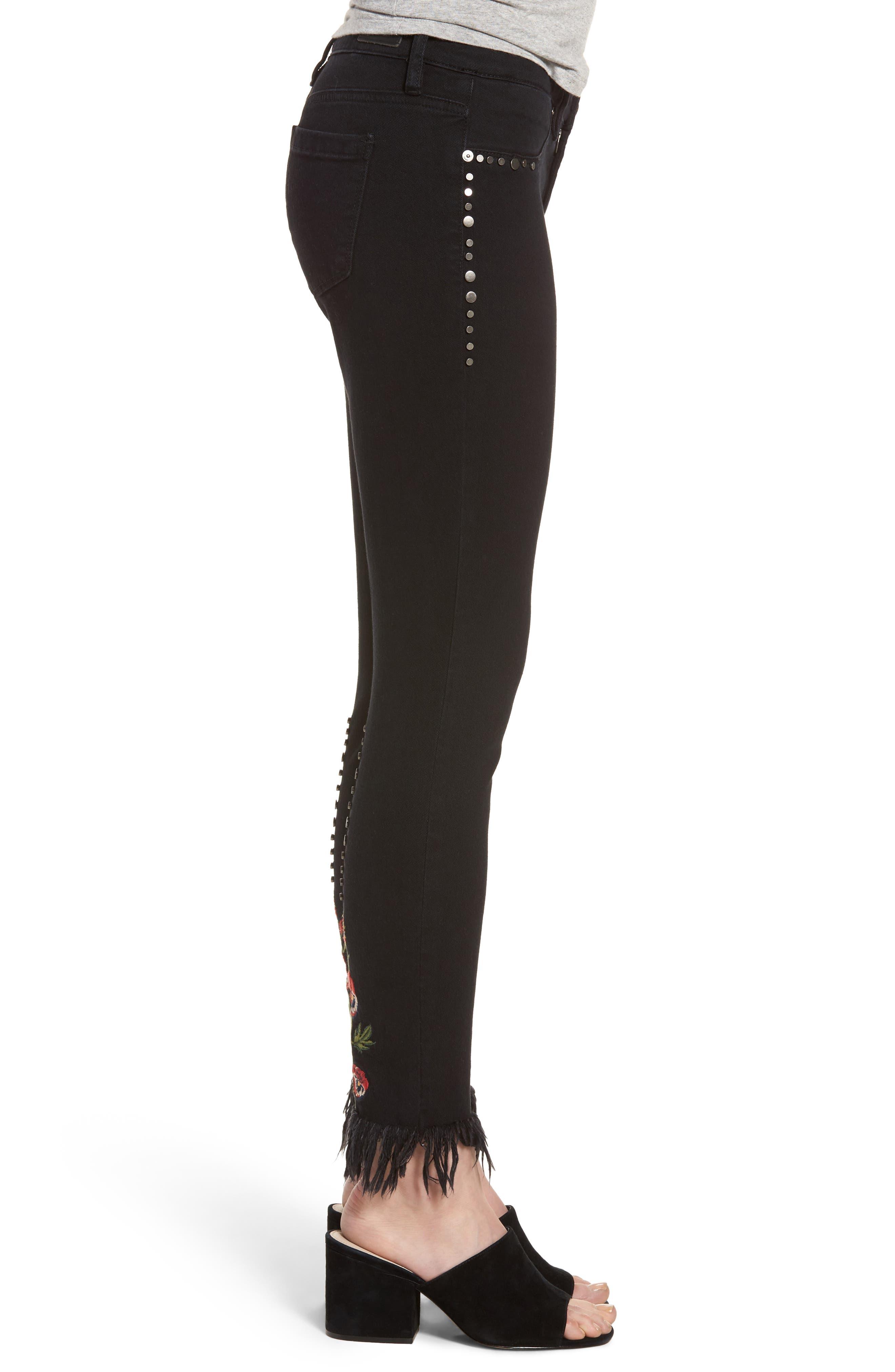 Embroidered & Studded Skinny Jeans,                             Alternate thumbnail 4, color,                             Hidden Talent Black