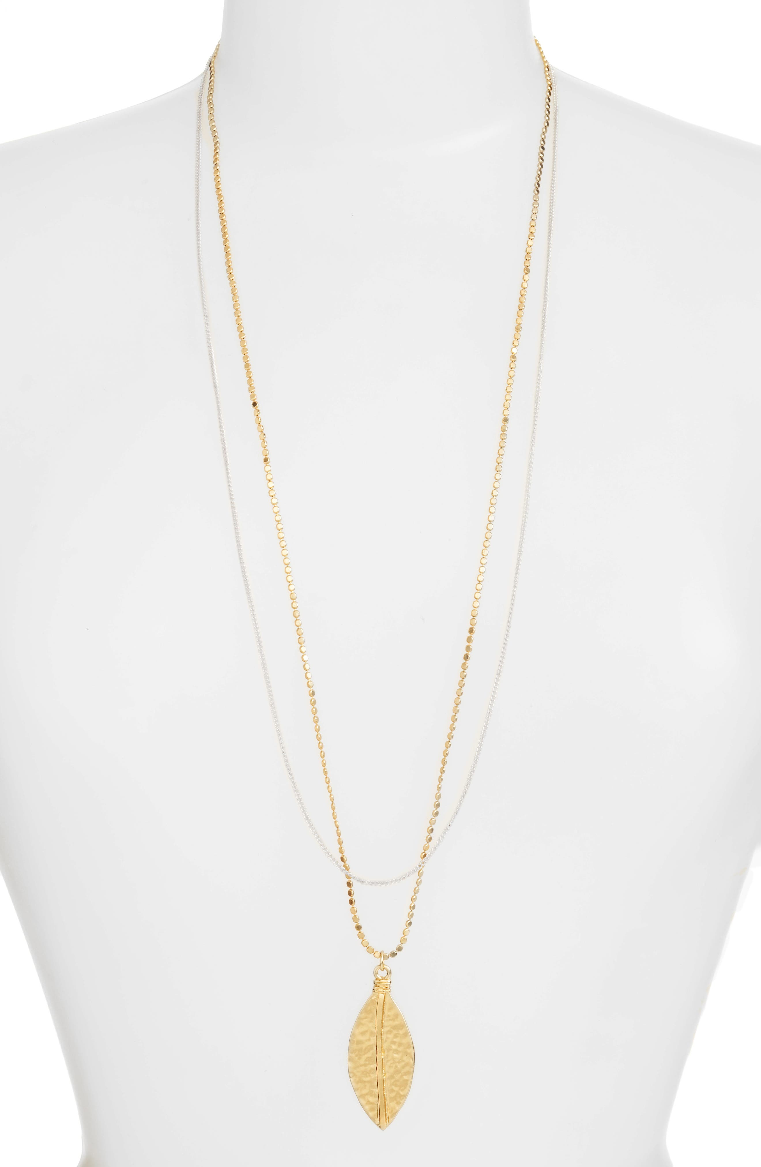 Long Multistrand Necklace,                             Main thumbnail 1, color,                             Gold/Silver Mix