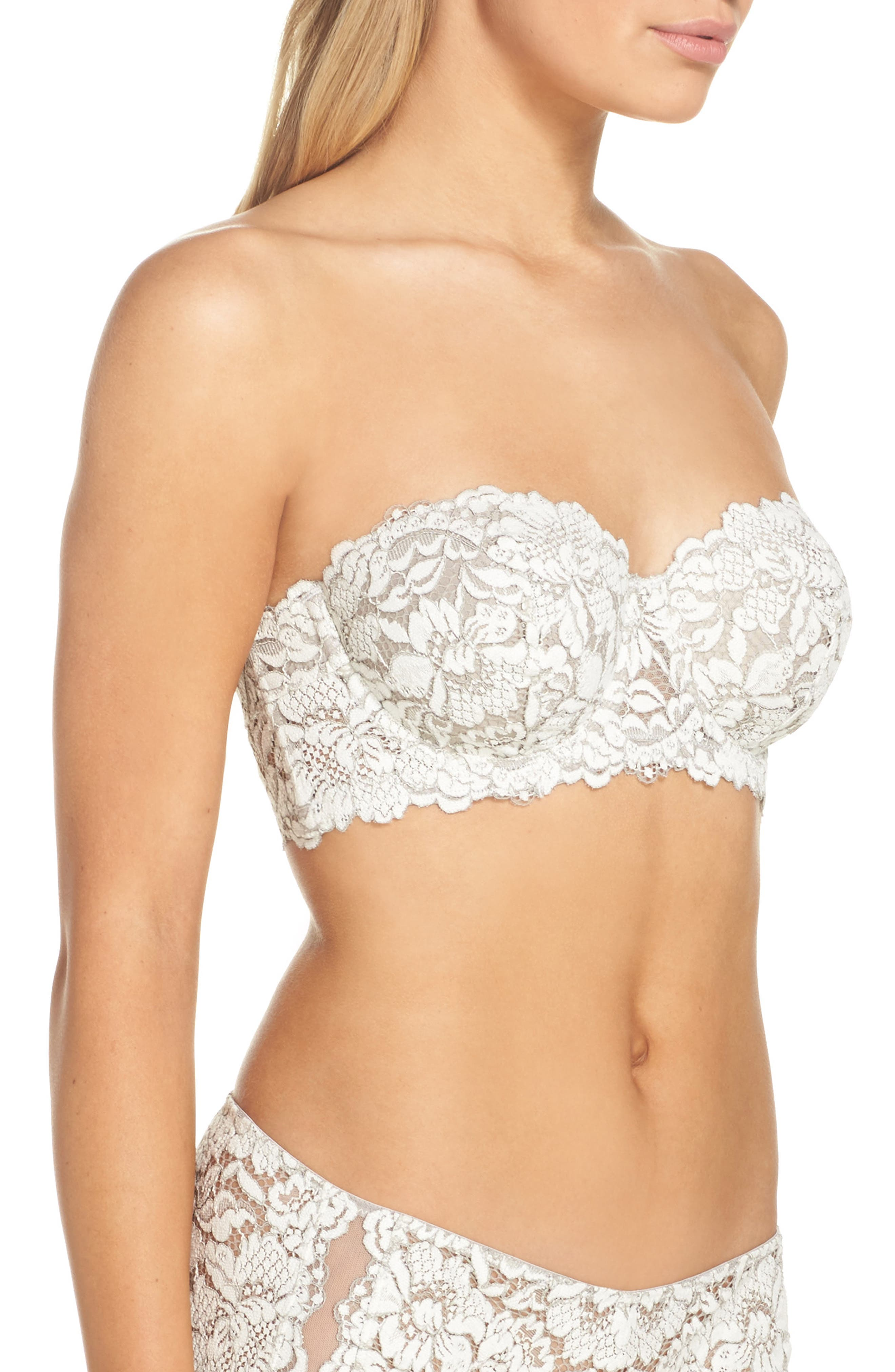 Romeo & Juliette Strapless Contour Bra,                             Alternate thumbnail 3, color,                             Winter White