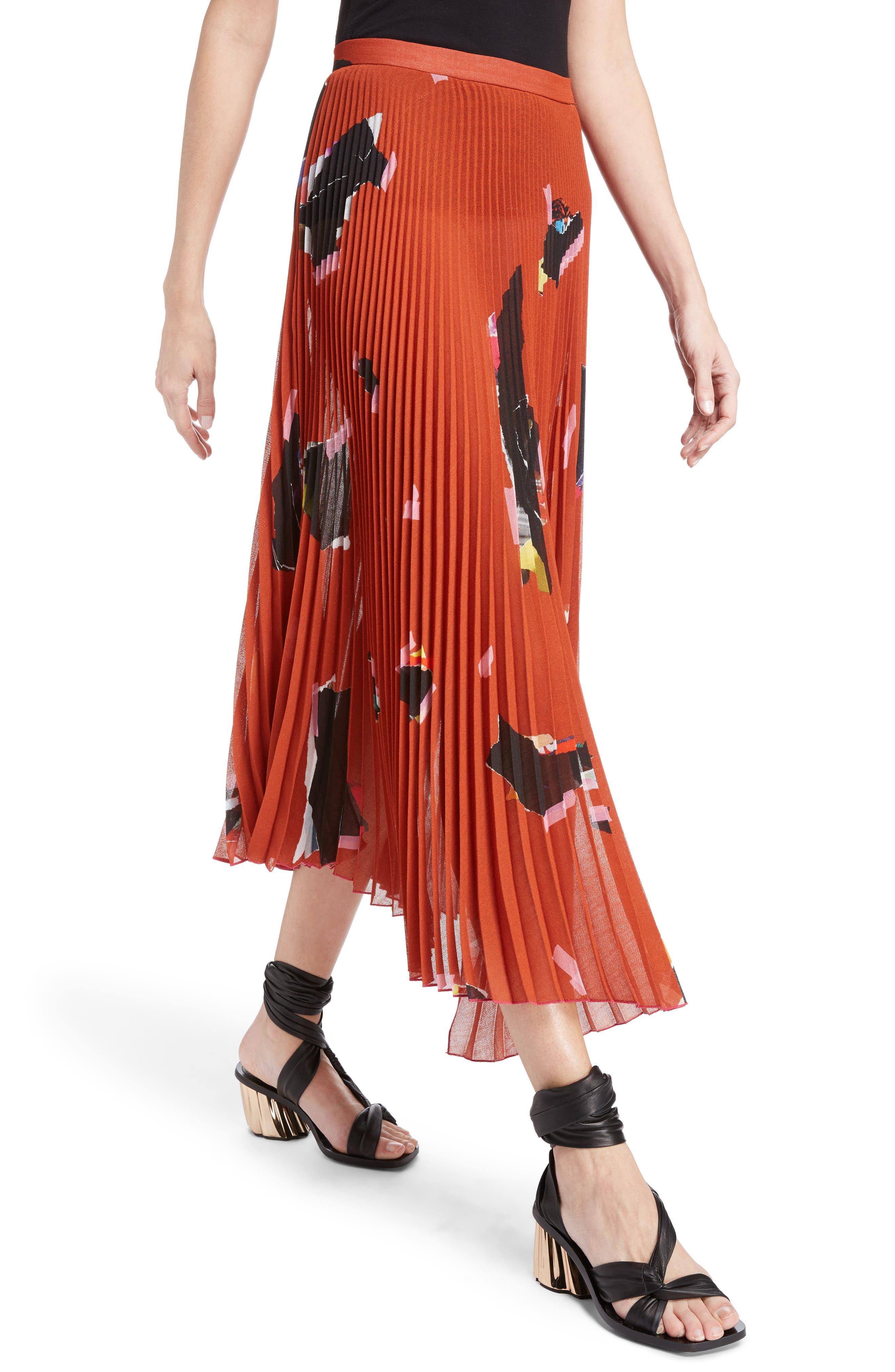 Asymmetrical Pleated Skirt,                             Alternate thumbnail 4, color,                             Orange
