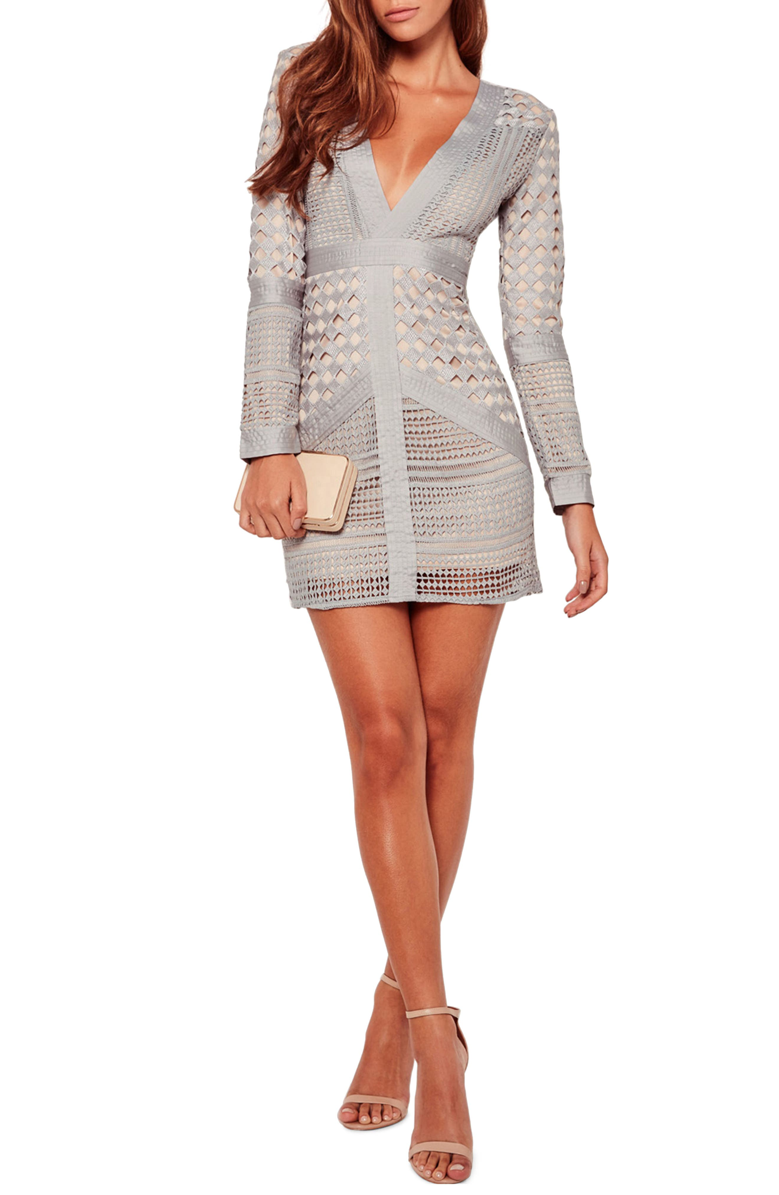 Lace Body-Con Dress,                         Main,                         color, Grey