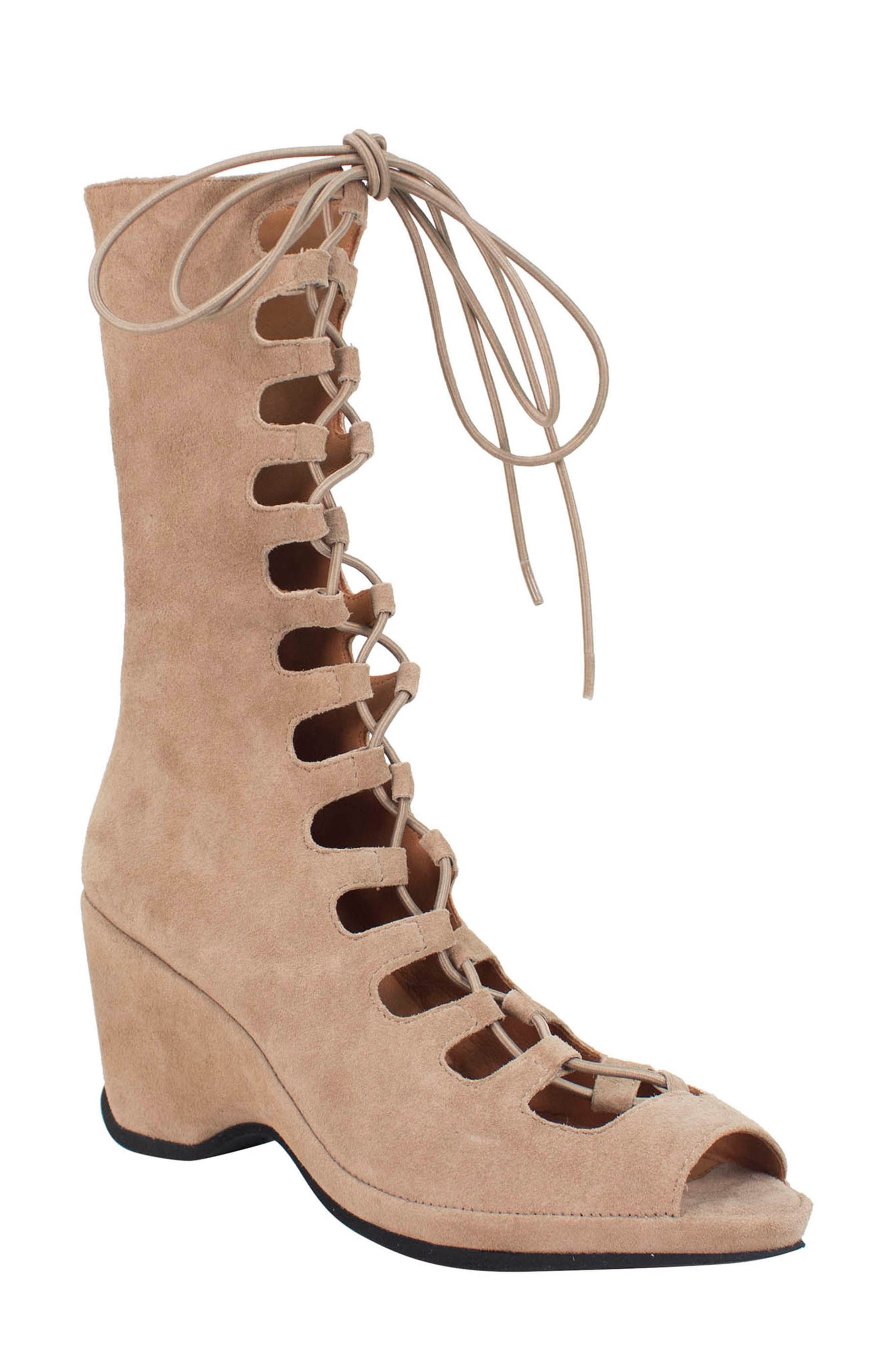 Othello Lace-Up Sandal,                             Main thumbnail 1, color,                             Taupe Suede