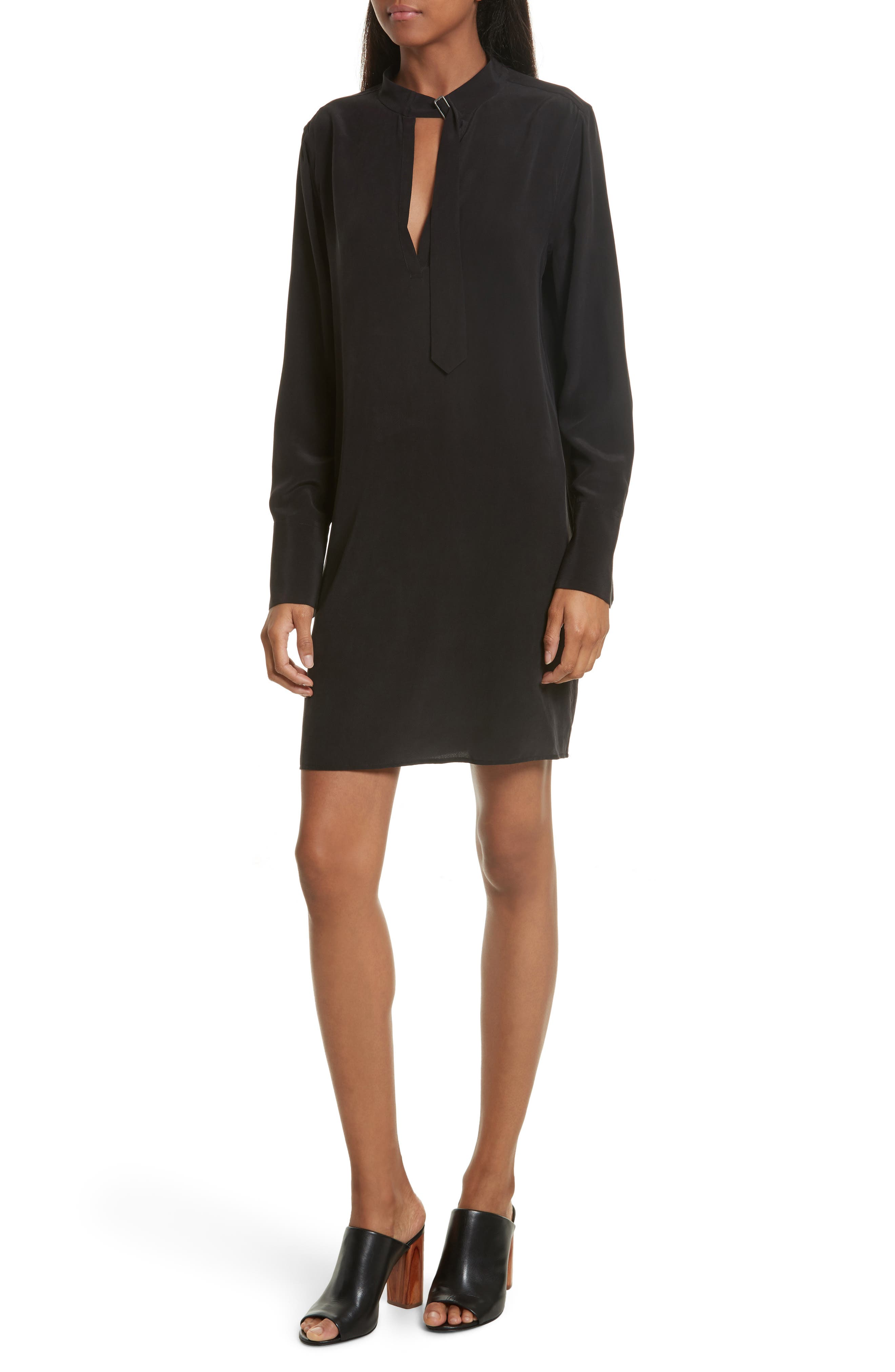 Cadence Silk Shift Dress,                         Main,                         color, True Black