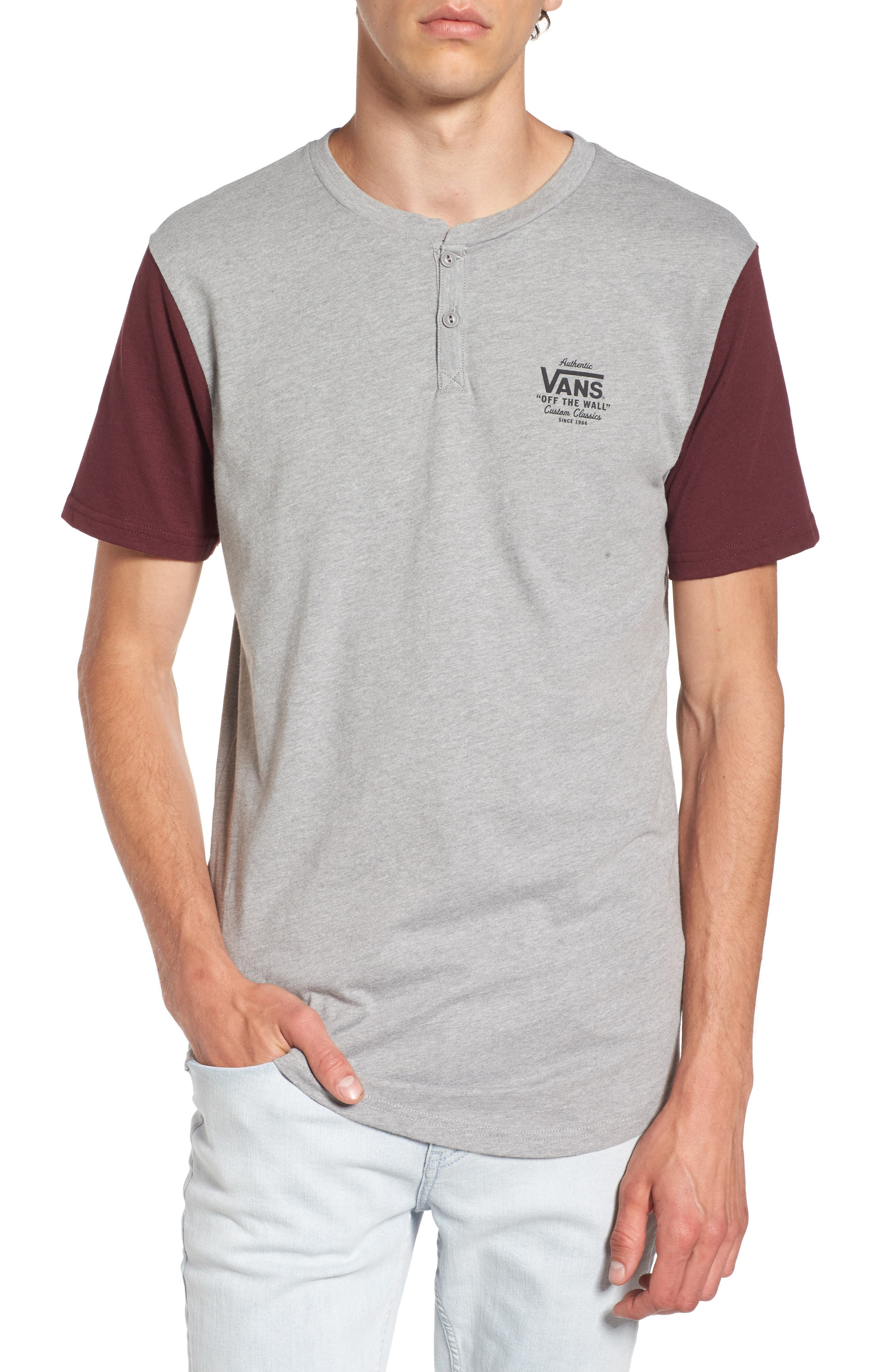 Hitson II Henley T-Shirt,                             Main thumbnail 1, color,                             Cement Heather/ Port Royale