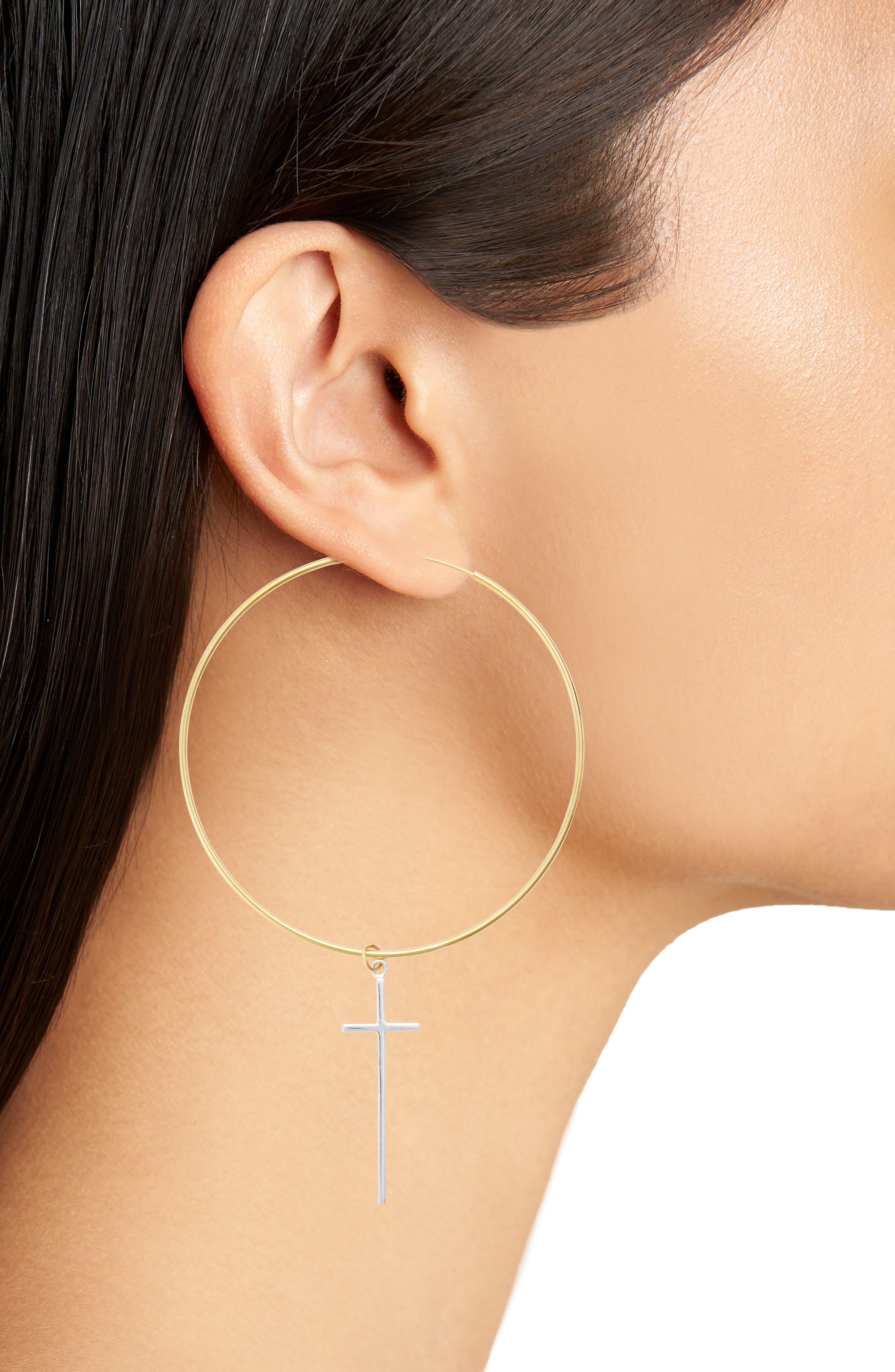 Cross Station Hoop Earrings,                             Alternate thumbnail 2, color,                             Gold / Silver